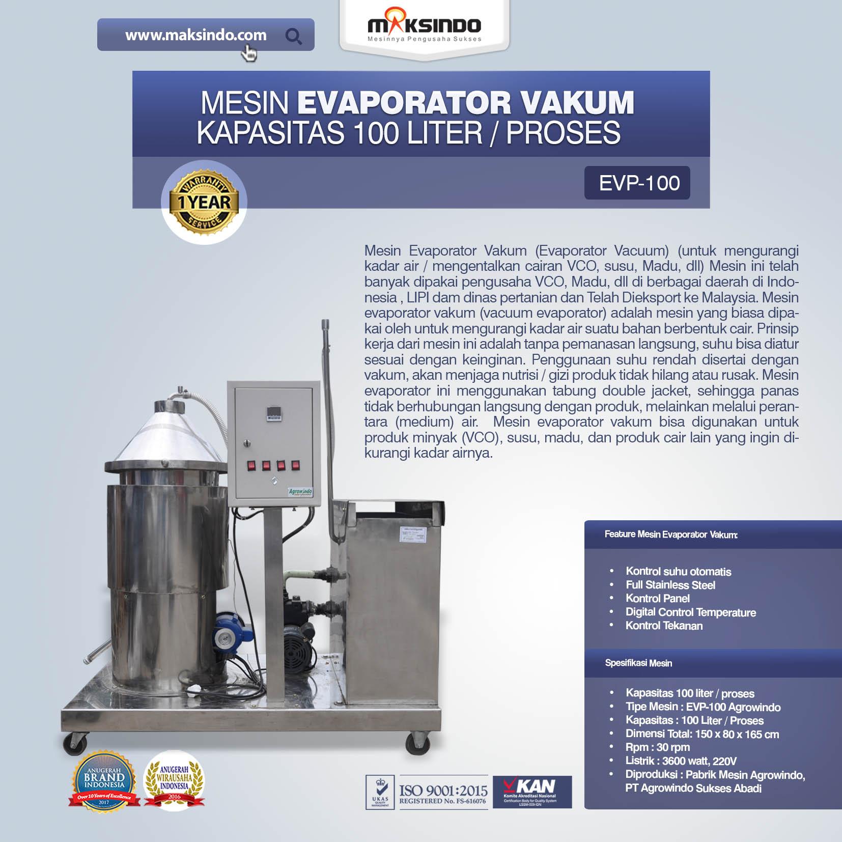 Mesin Evaporator Vakum Kapasitas 100 Liter Proses
