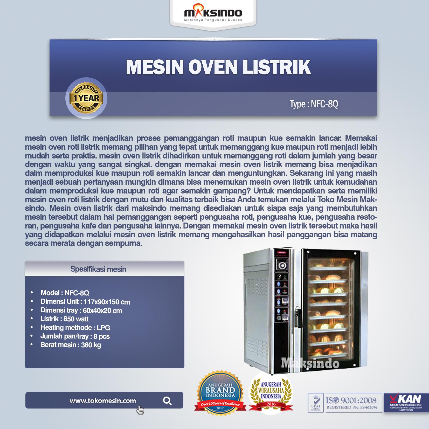 Mesin Oven Listrik NFC-8Q