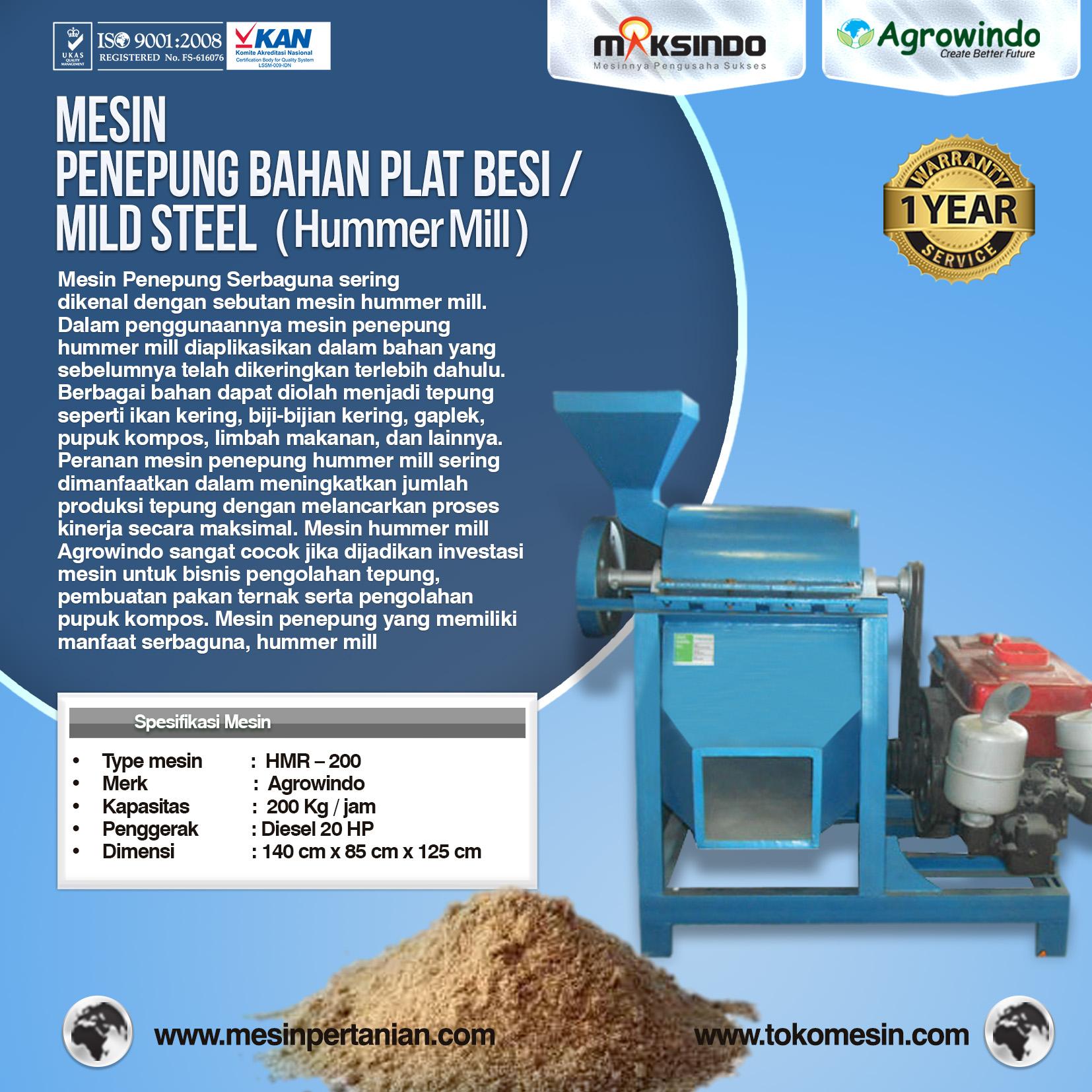Mesin Penepung Hummer Mill Bahan Plat Besi HMR – 200