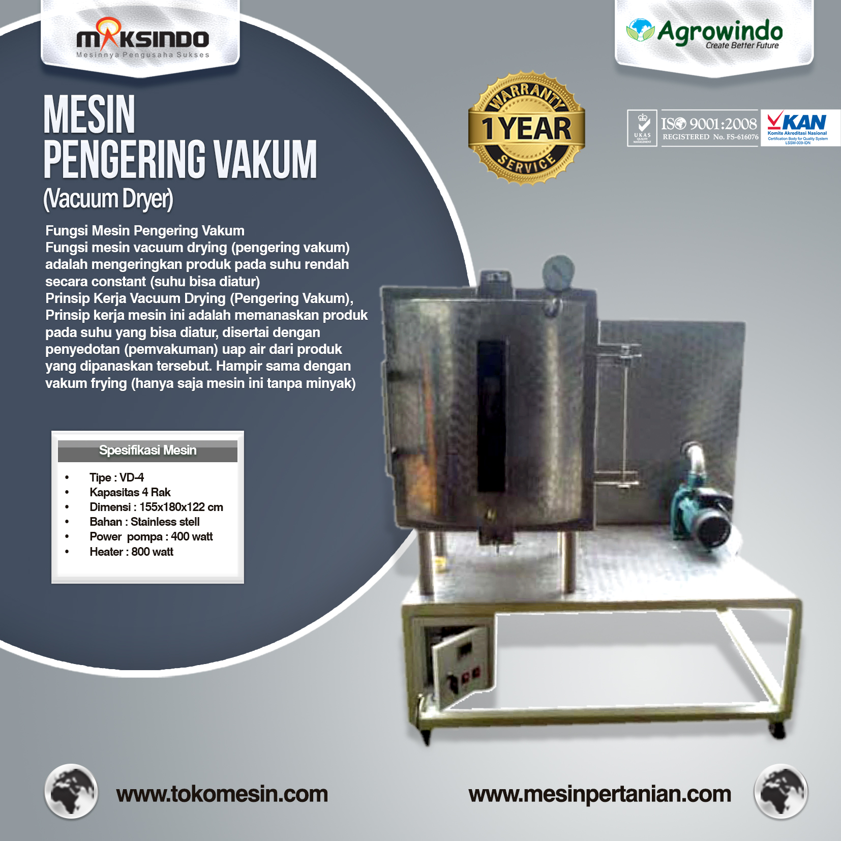 Mesin Vacuum Drying (vacuum dryer) VD-4