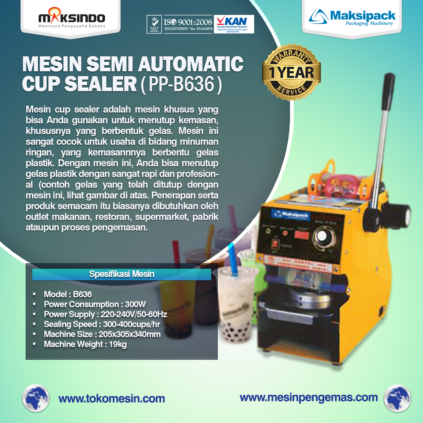 Semi Automatic Cup Sealer (PP-B636)