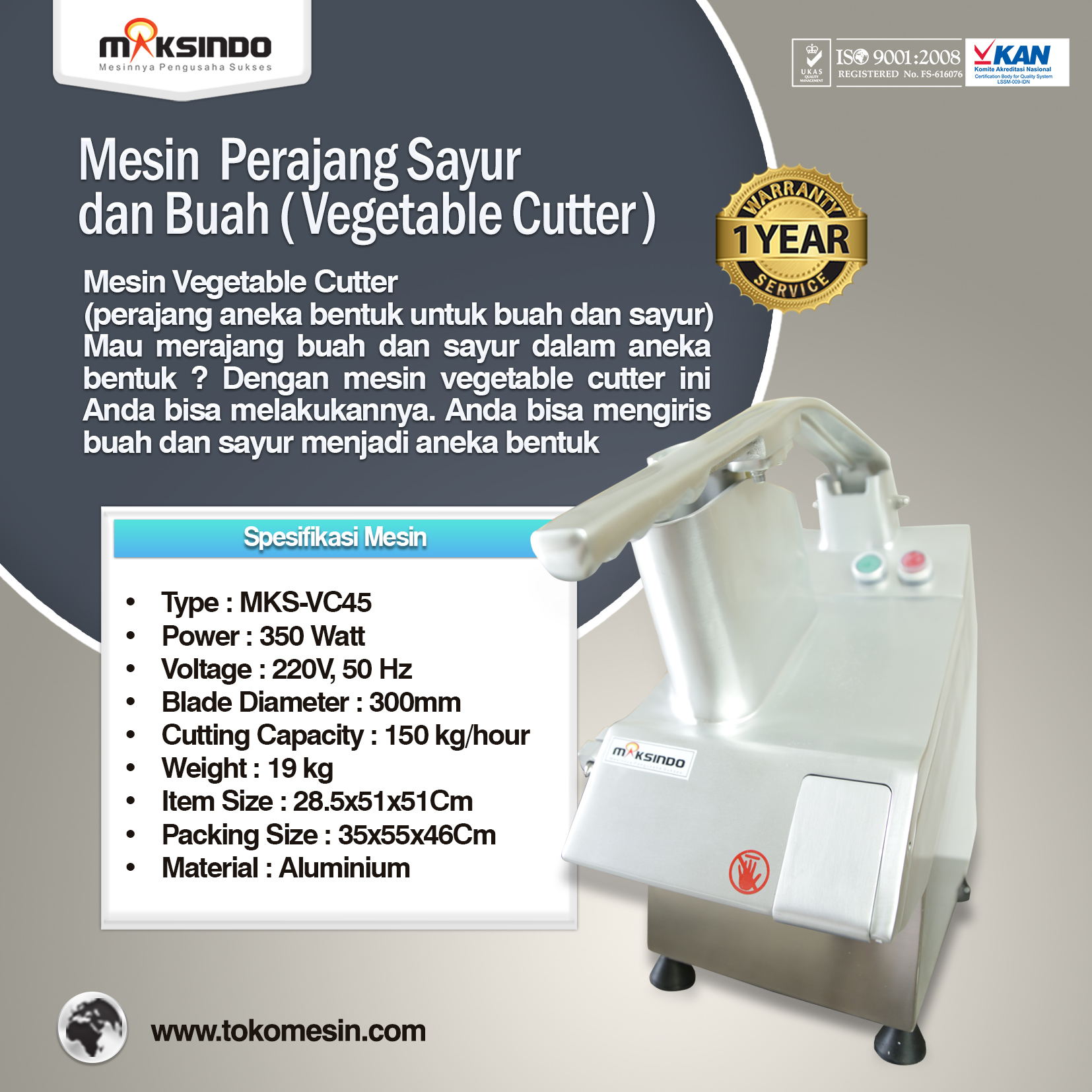 Mesin Vegetable Cutter MKS-VC45