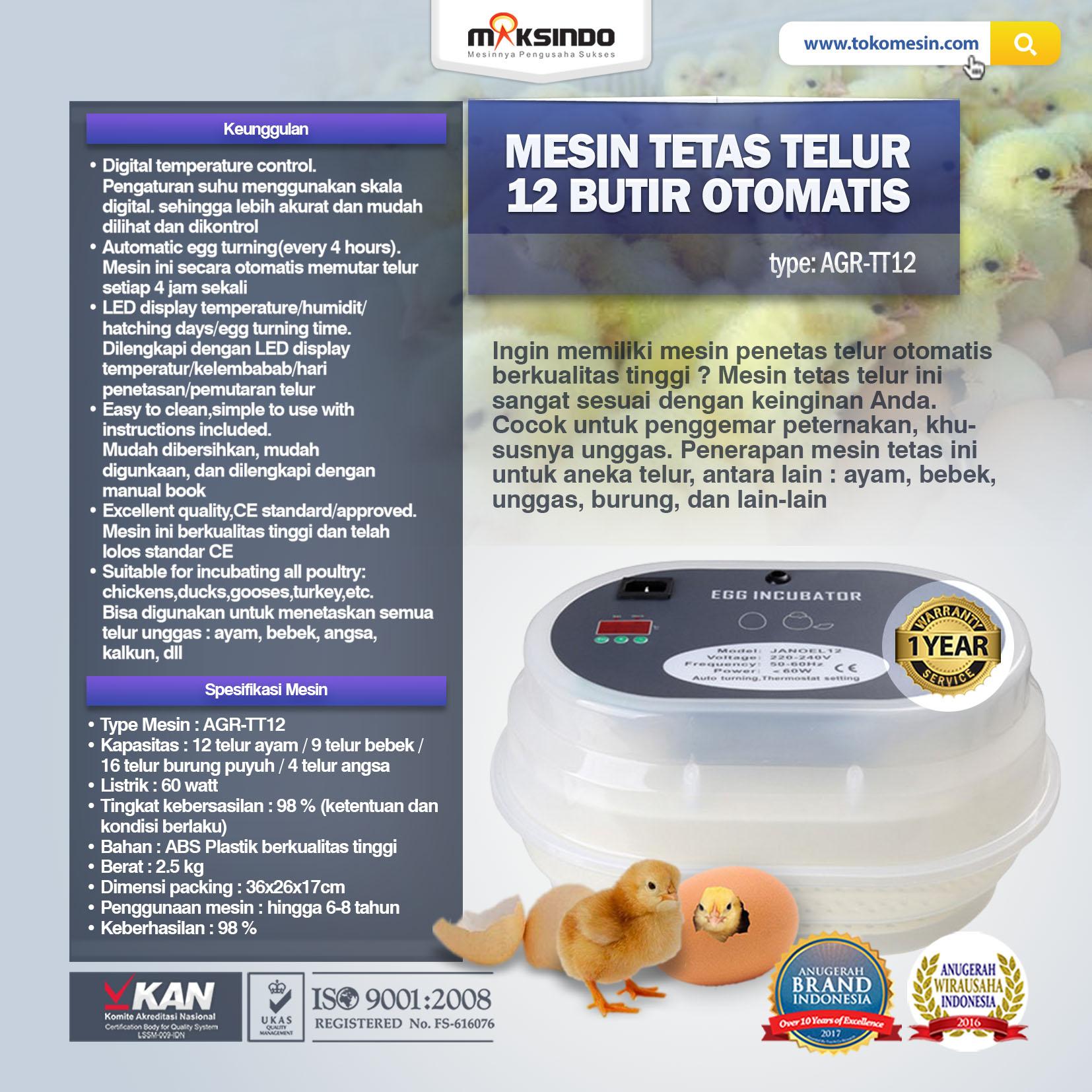 MESIN TETAS TELUR AGR-TT12