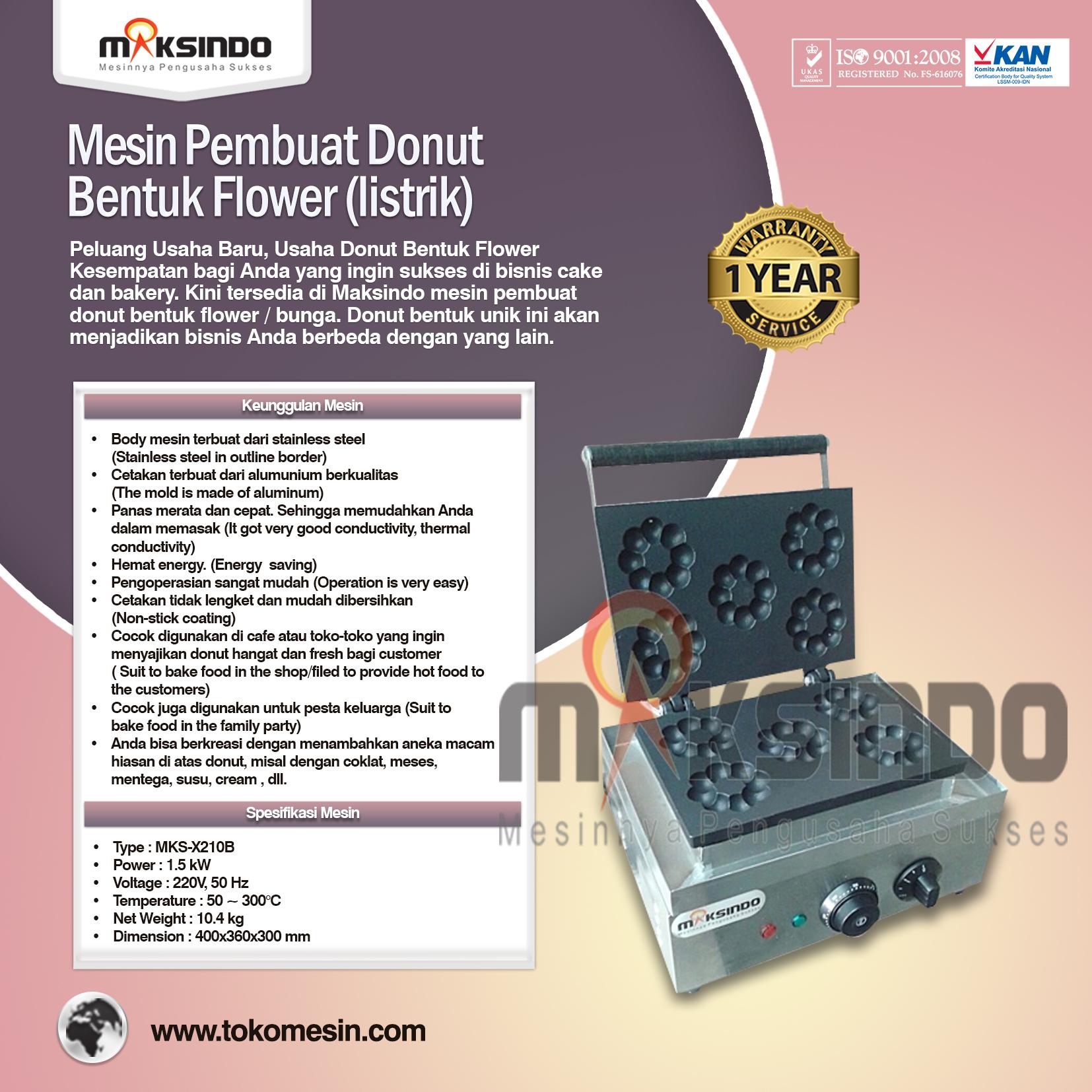 Mesin Pembuat Donut Bentuk Flower (listrik) MKS-X210B