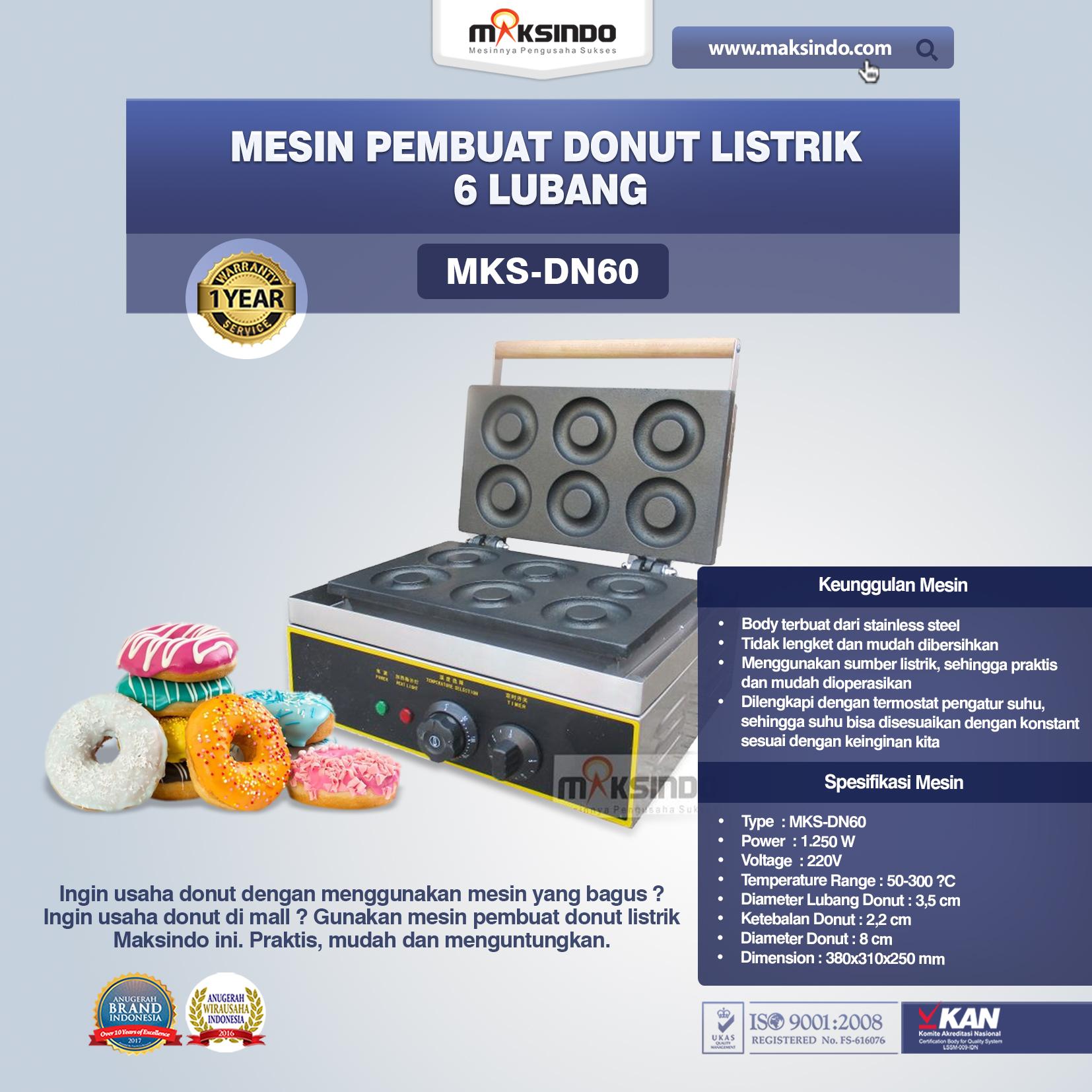 Mesin Pembuat Donut Listrik 6 Lubang MKS-DN60