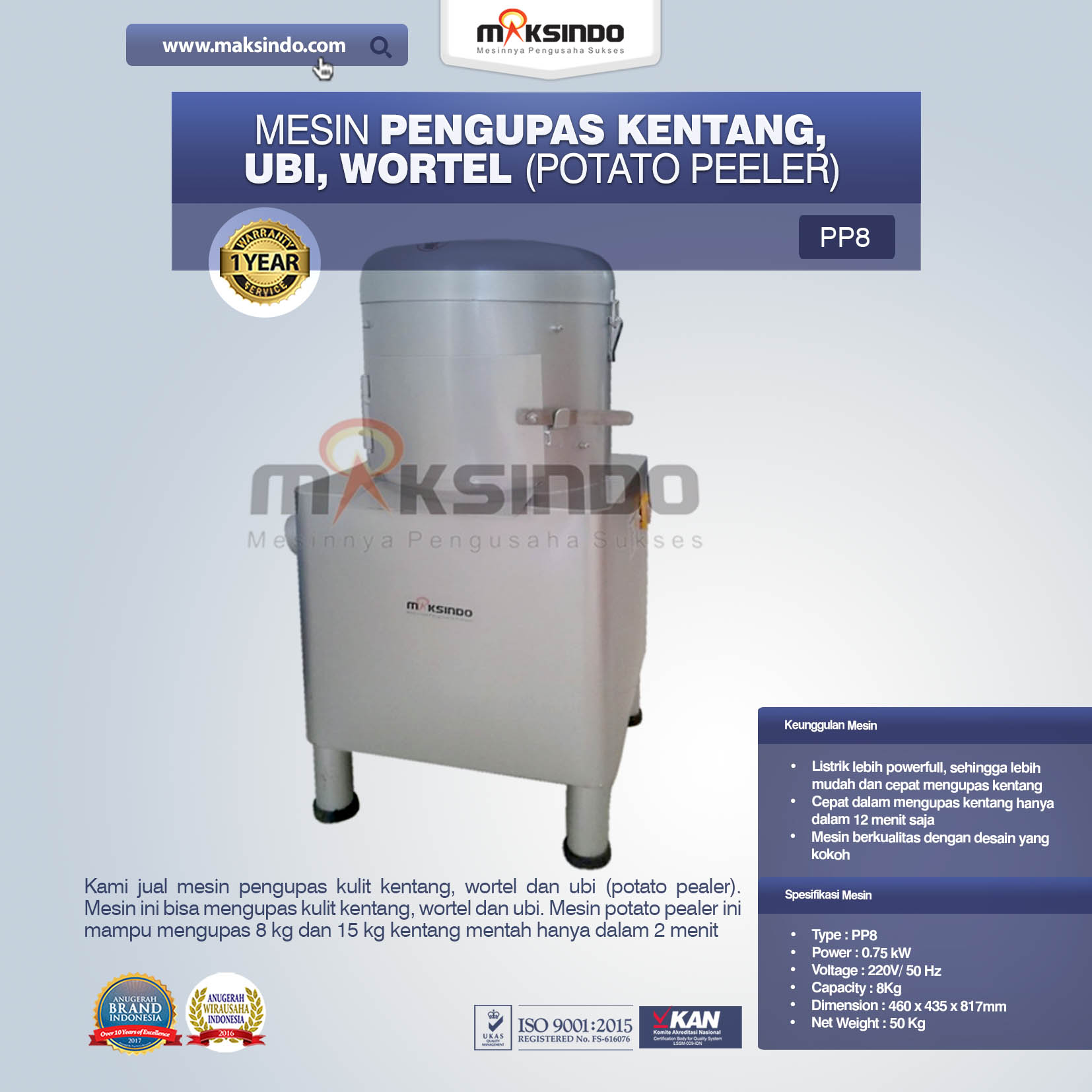 Mesin Pengupas Kentang, Ubi, Wortel (Potato Peeler) PP8