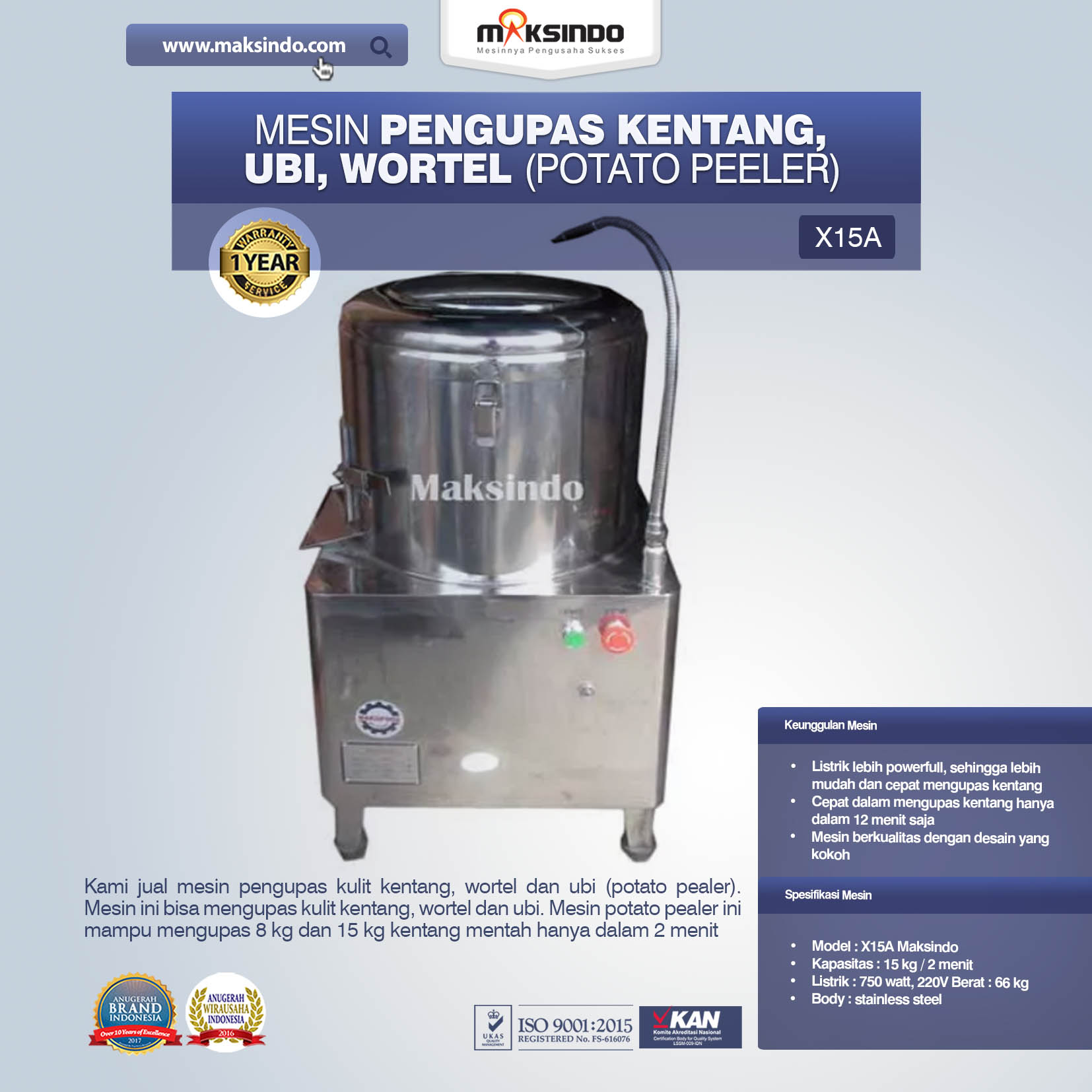 Mesin Pengupas Kentang, Ubi, Wortel (Potato Peeler) X15A