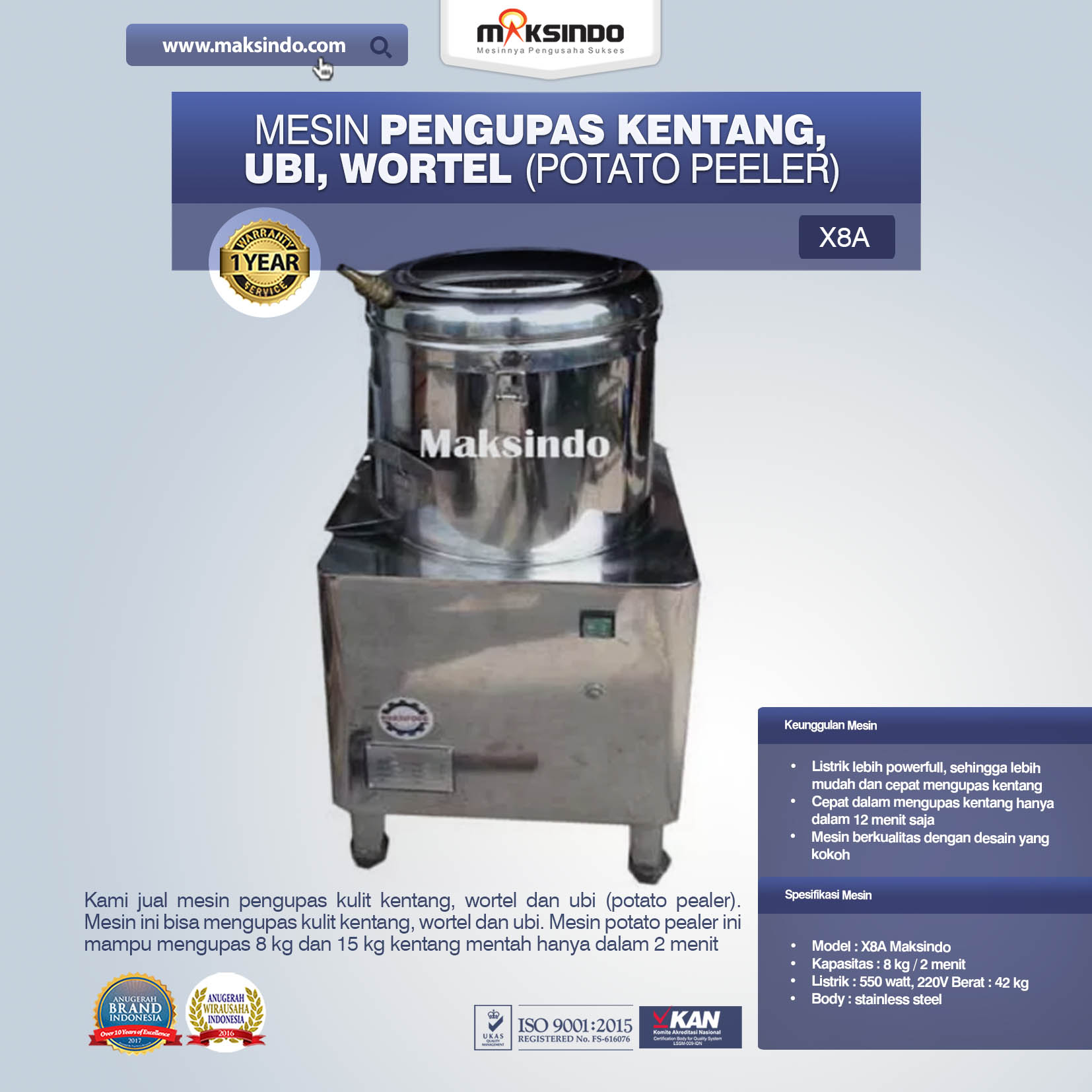 Mesin Pengupas Kentang, Ubi, Wortel (Potato Peeler) X8A