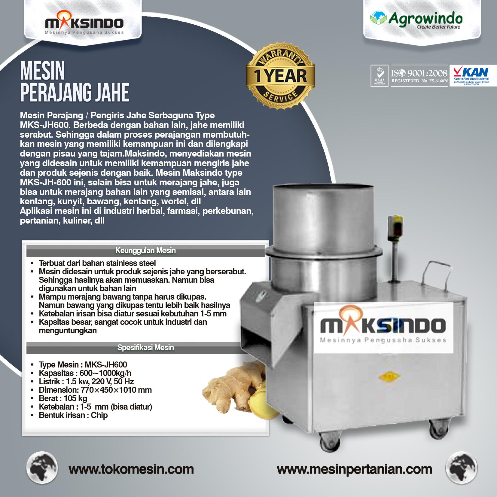 Mesin Perajang Jahe Kapasitas 600 Kg – 1 Ton MKS-JH600