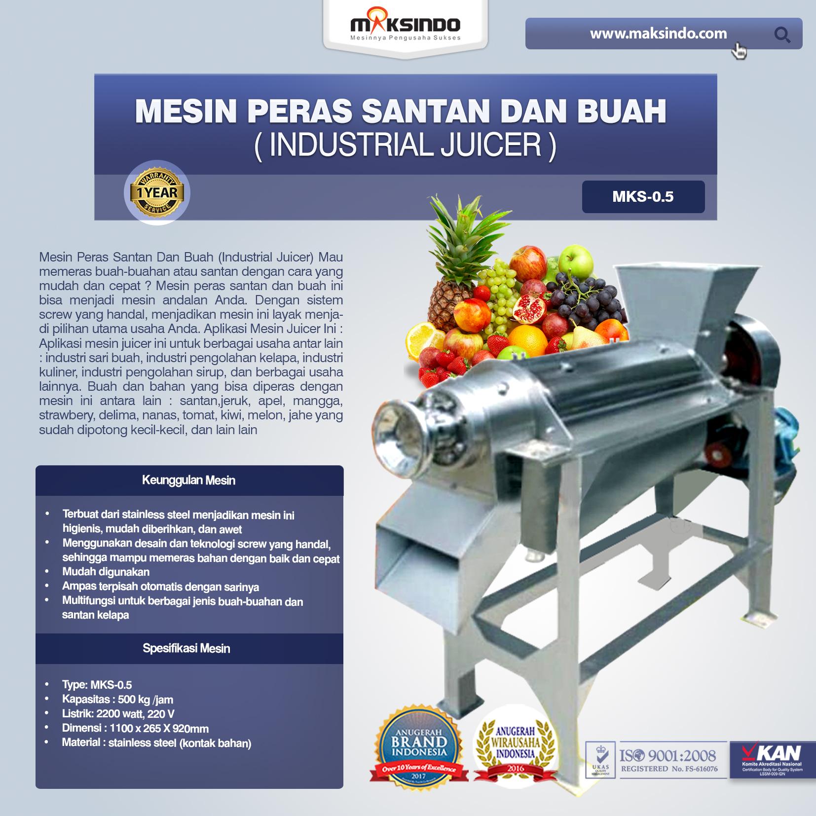 Mesin Peras Santan Dan Buah (Industrial Juicer) Type MKS-0.5