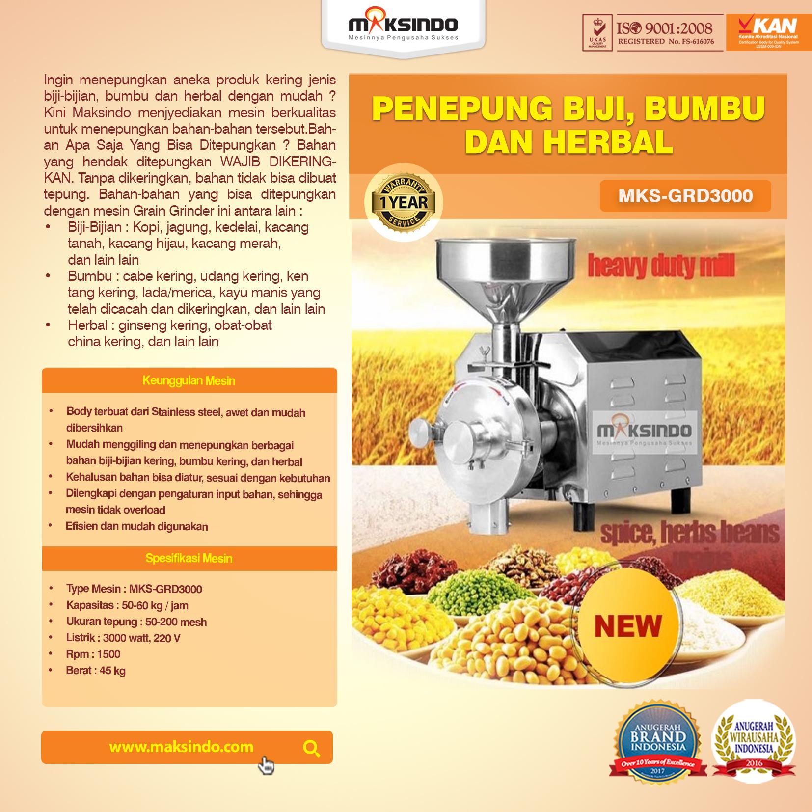 mesin Penepung Biji, Bumbu dan Herbal MKS-GRD3000