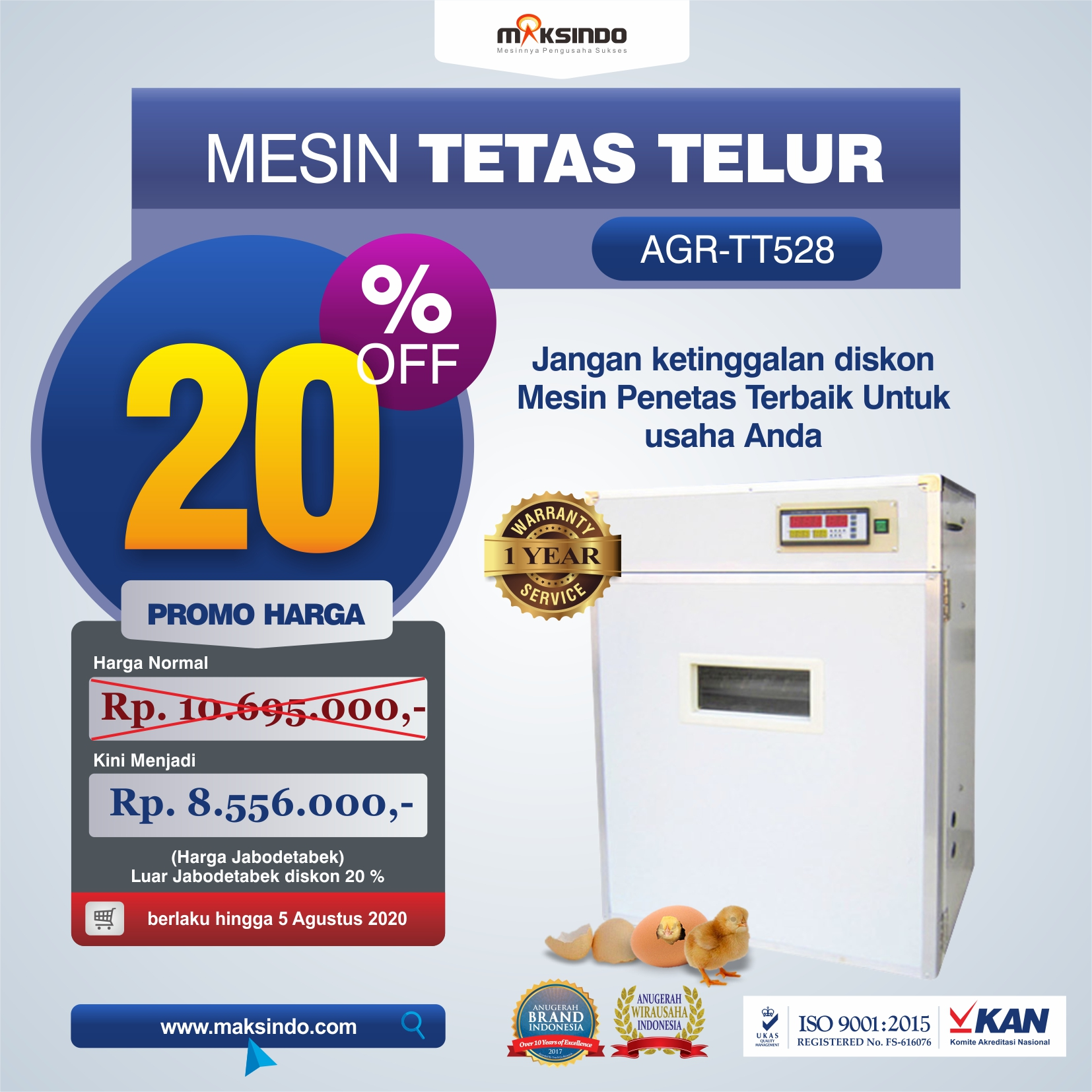 AGR-TT528 MESIN TETAS TELUR