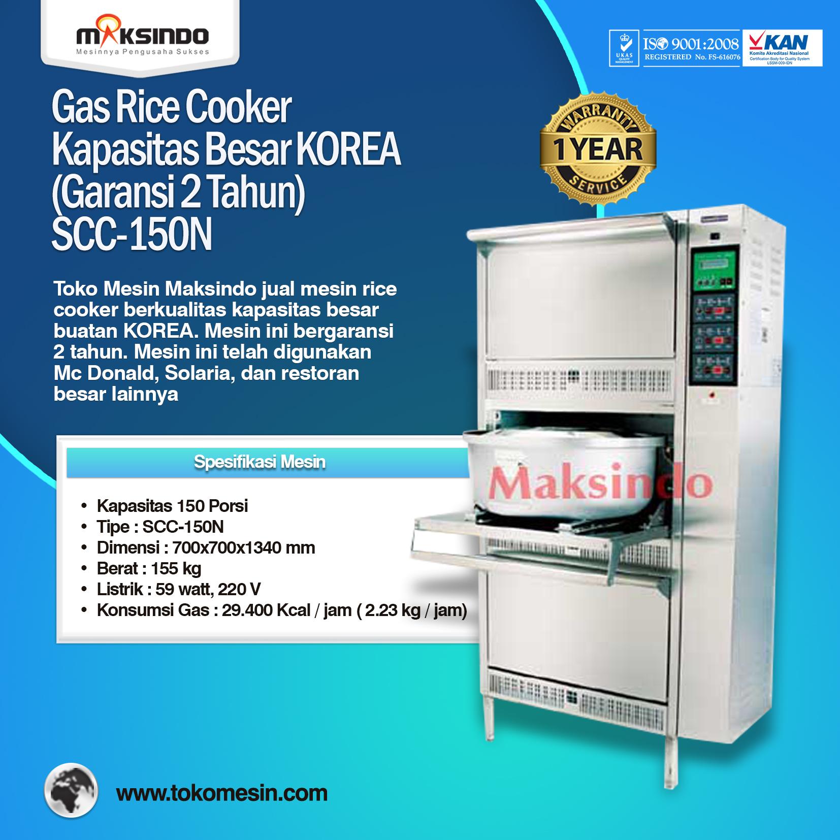 Gas Rice Cooker Kapasitas Besar KOREA SCC-150N