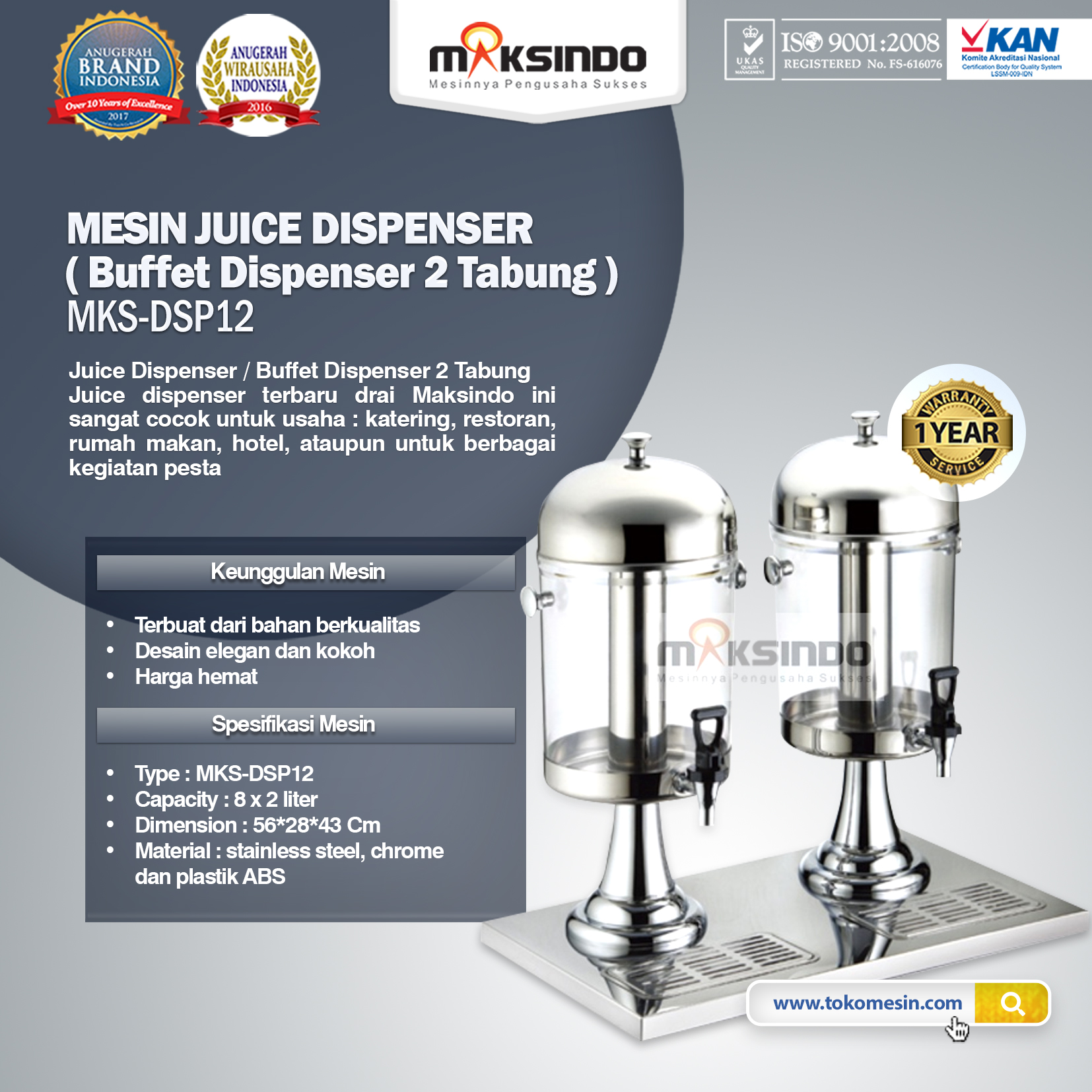 Juice Dispenser - Buffet Dispenser 2 Tabung MKS-DSP12
