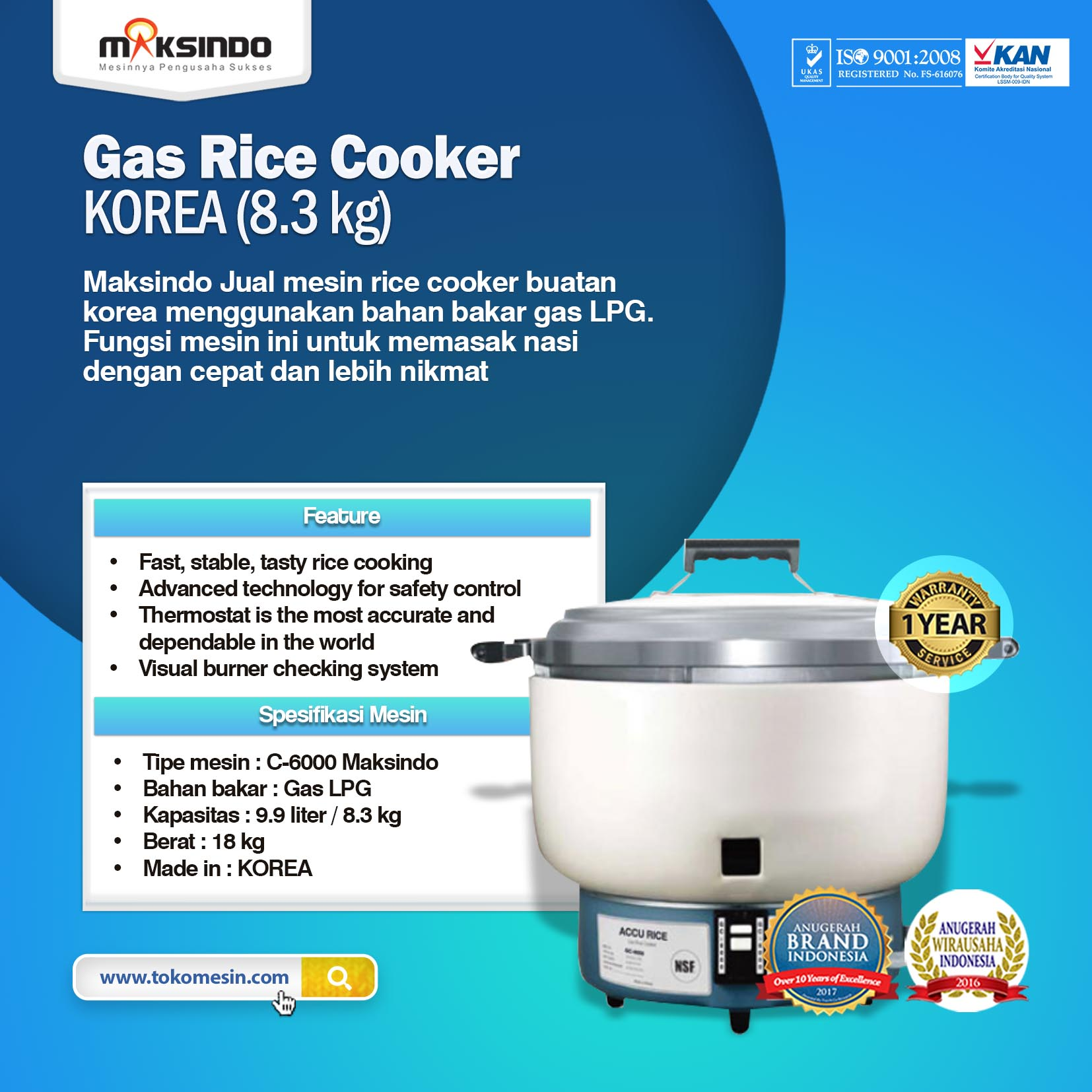 Mesin Gas Rice Cooker KOREA (8