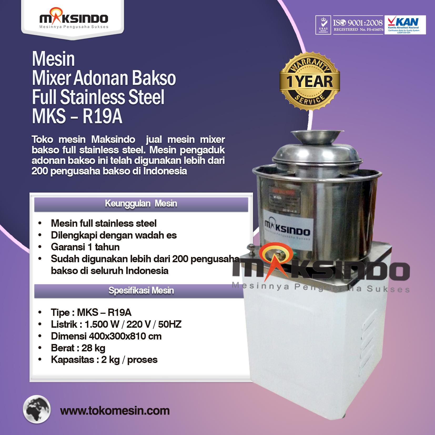 Mesin Mixer Adonan Bakso Full Stainless Steel MKS – R19A