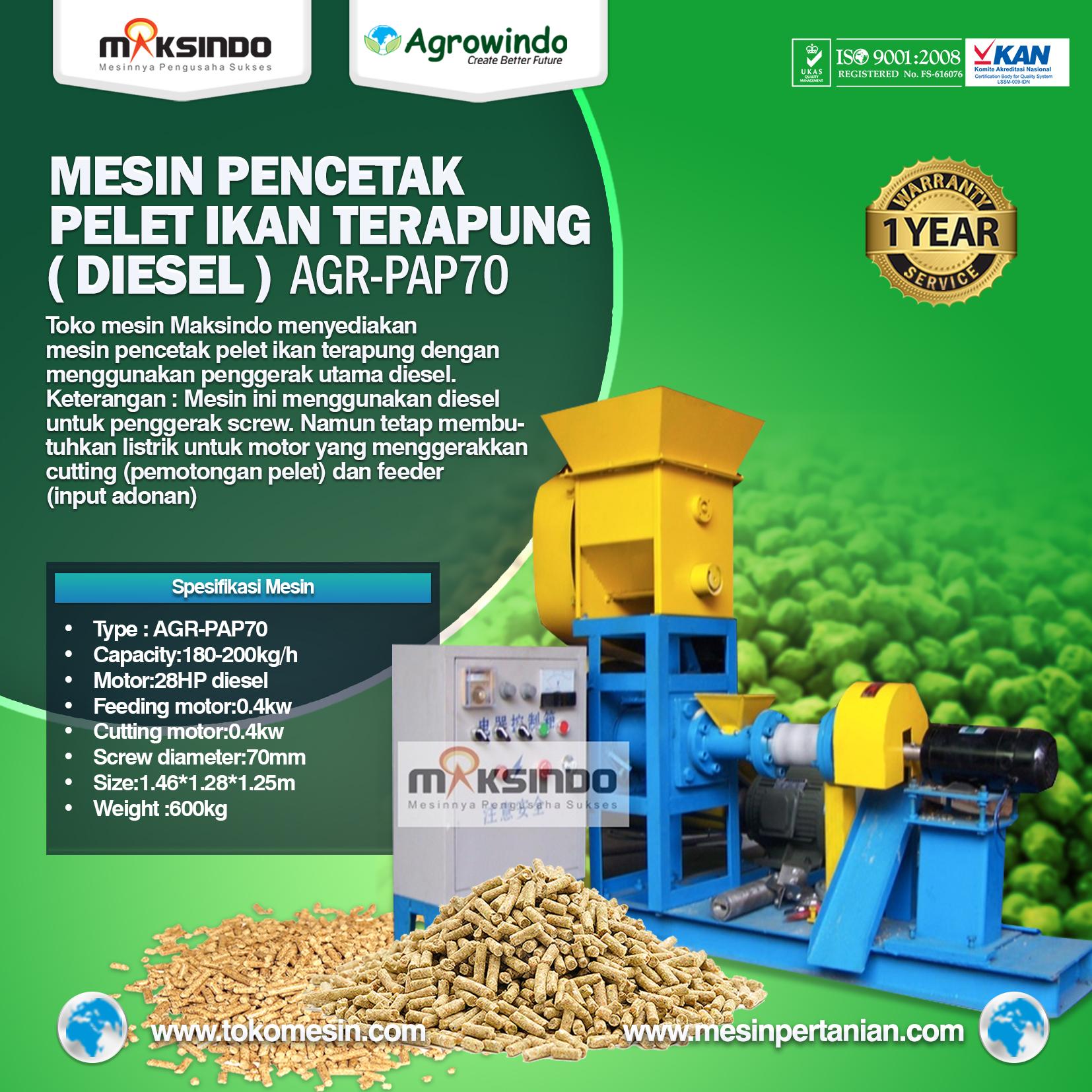 Mesin Pencetak Pelet Ikan Terapung (Diesel) AGR-PAP70