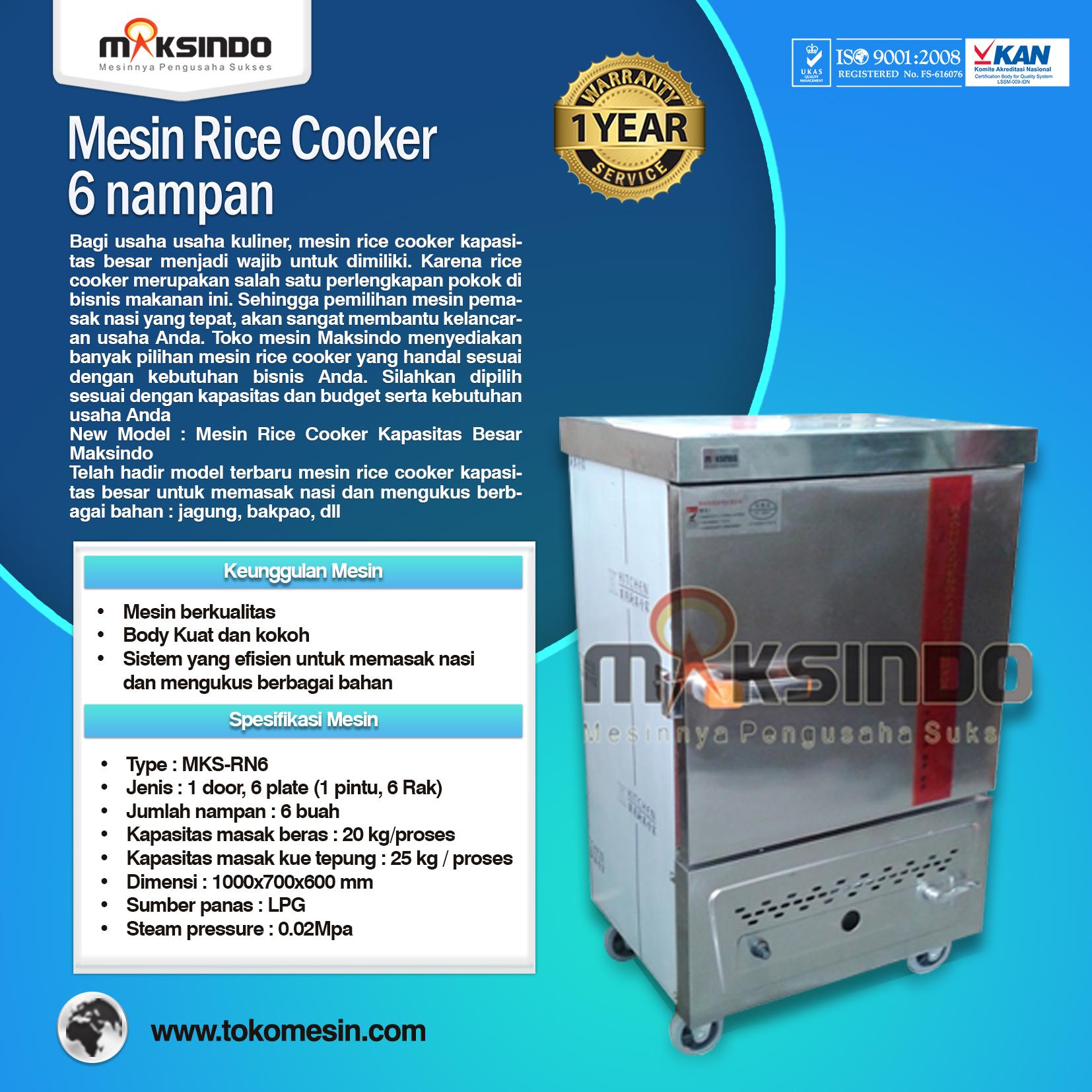 Mesin Rice Cooker Kapasitas Besar MKS RN6