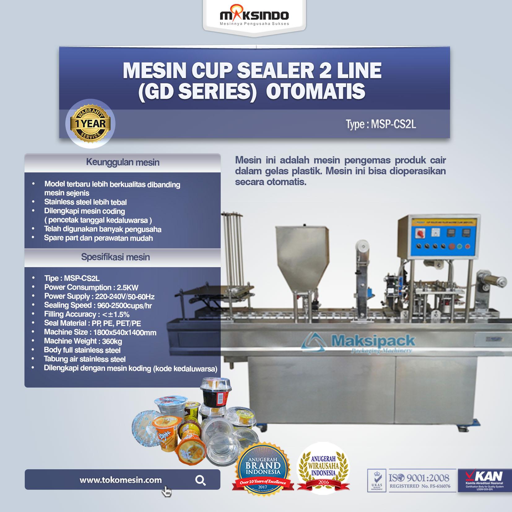 Mesin Cup Sealer Otomatis 2 Line (GD Series) MSP-CS2L