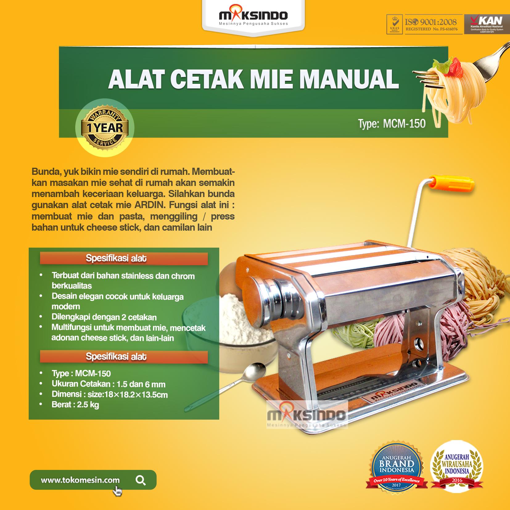 """Alat Cetak Mie Manual """"ARDIN"""" Untuk Ibu Rumah Tangga MCM-150"""