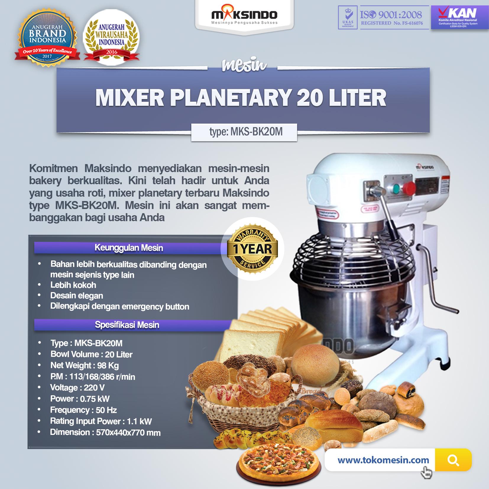 Mesin Mixer Planetary 20 Liter (MKS-BK20M)(1)