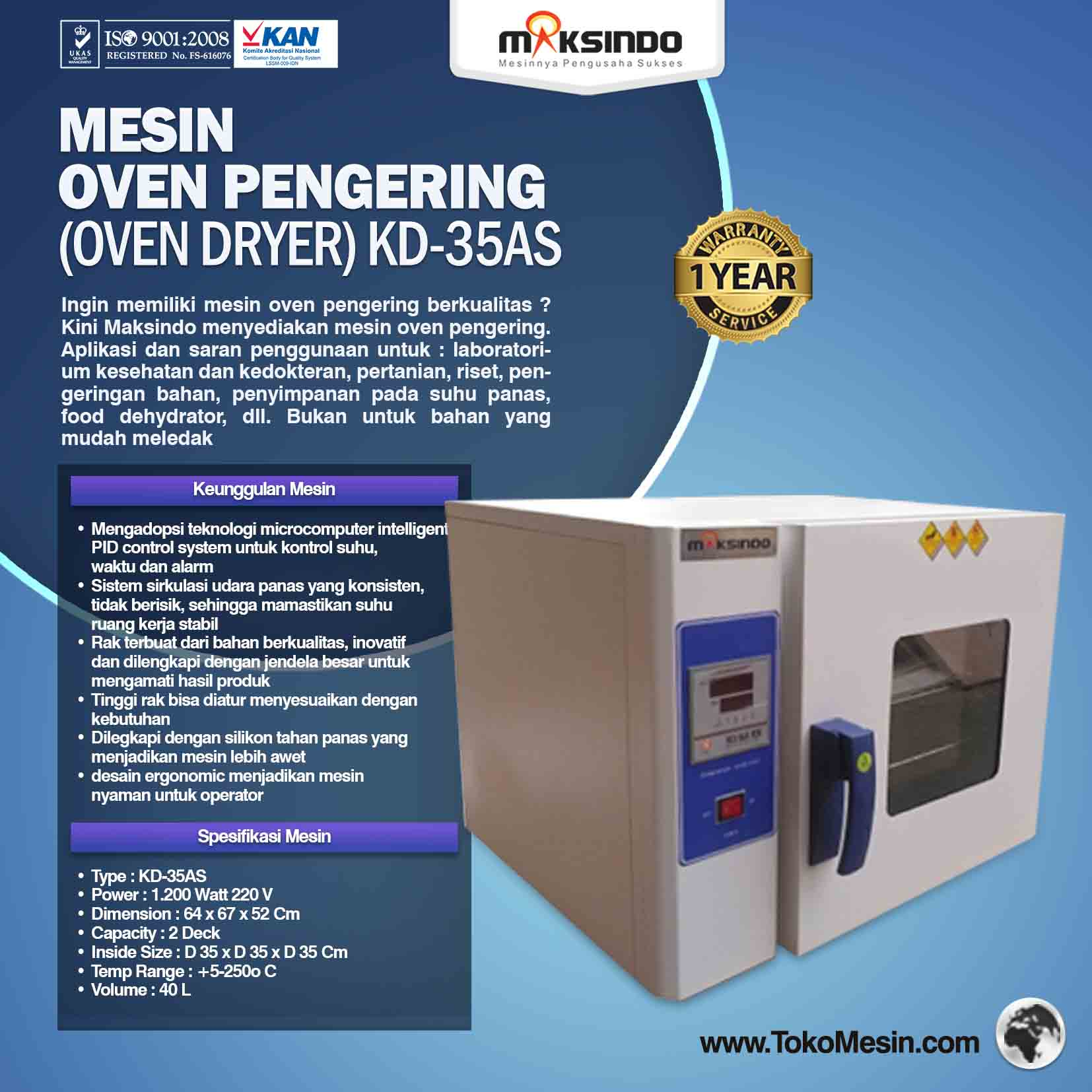 Mesin Oven Pengering (Oven Dryer) KD-35AS