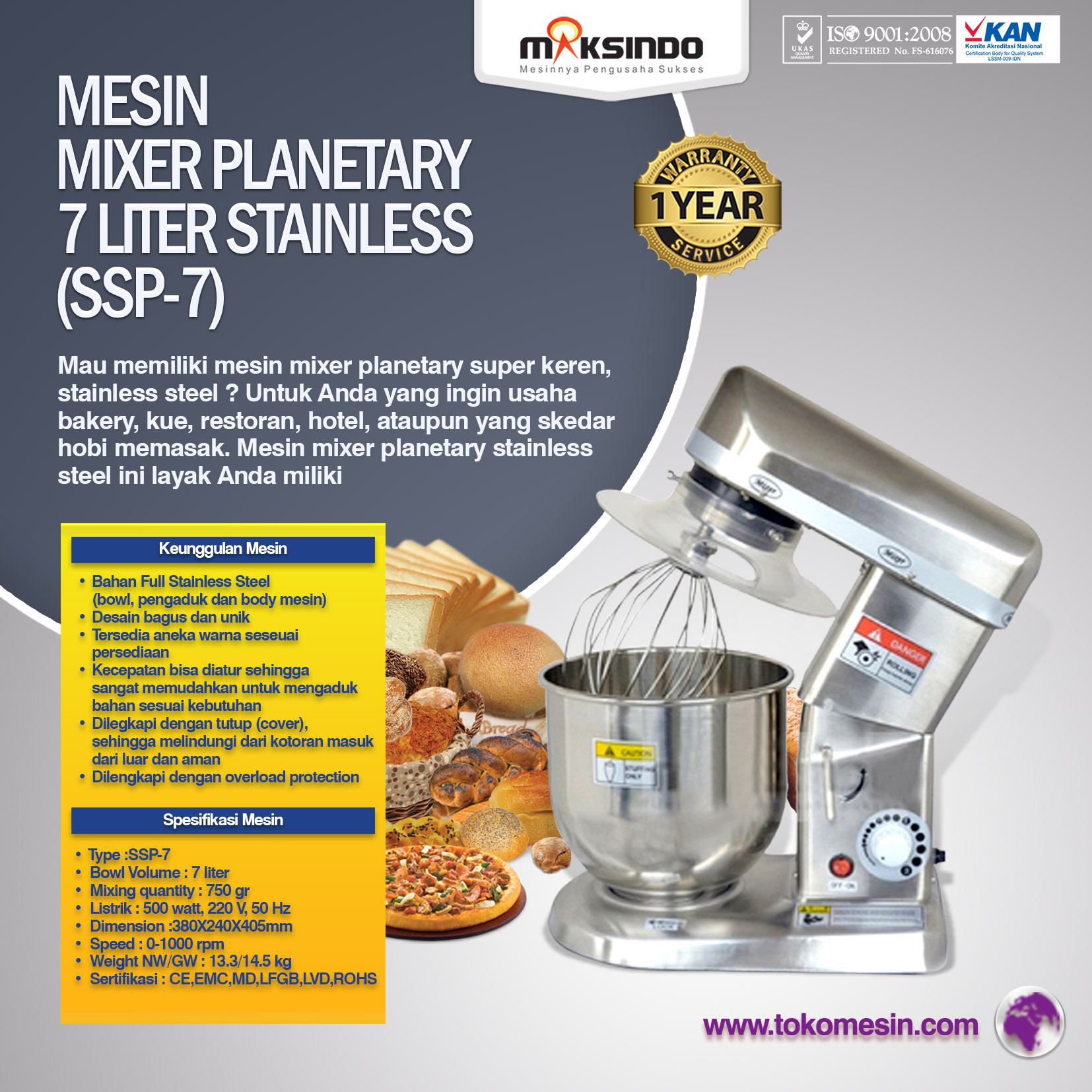 Mesin Mixer Planetary 7 Liter Stainless (SSP-7)