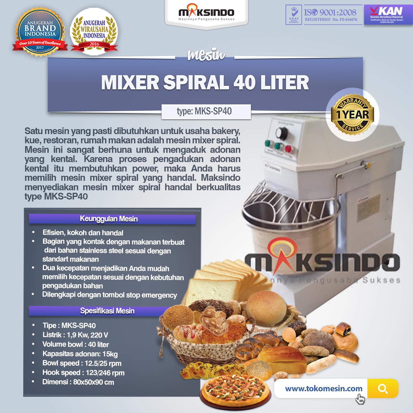 Mixer Spiral 40 Liter (MKS-SP40)(1)
