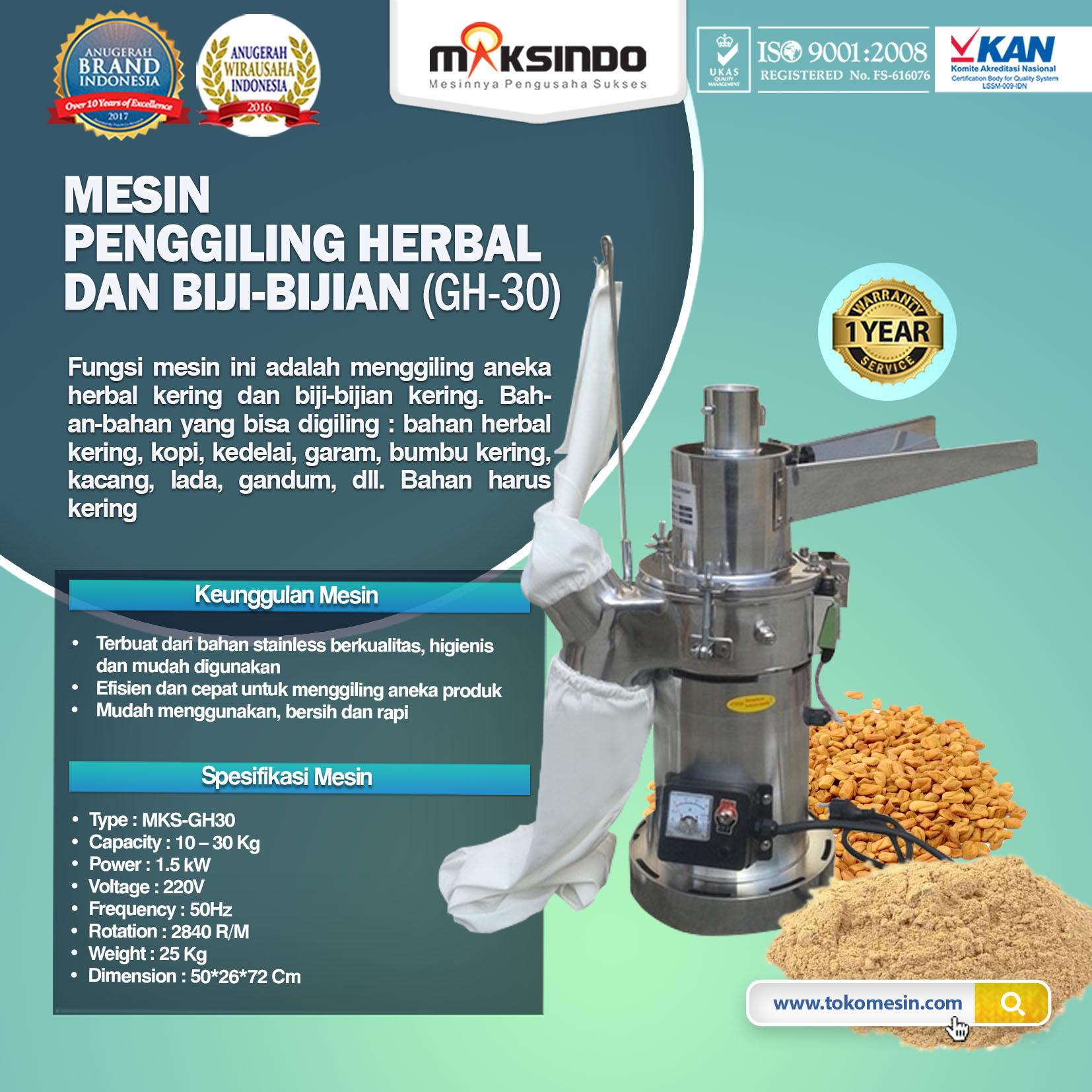 Penggiling Herbal dan Biji-Bijian (GH-30)