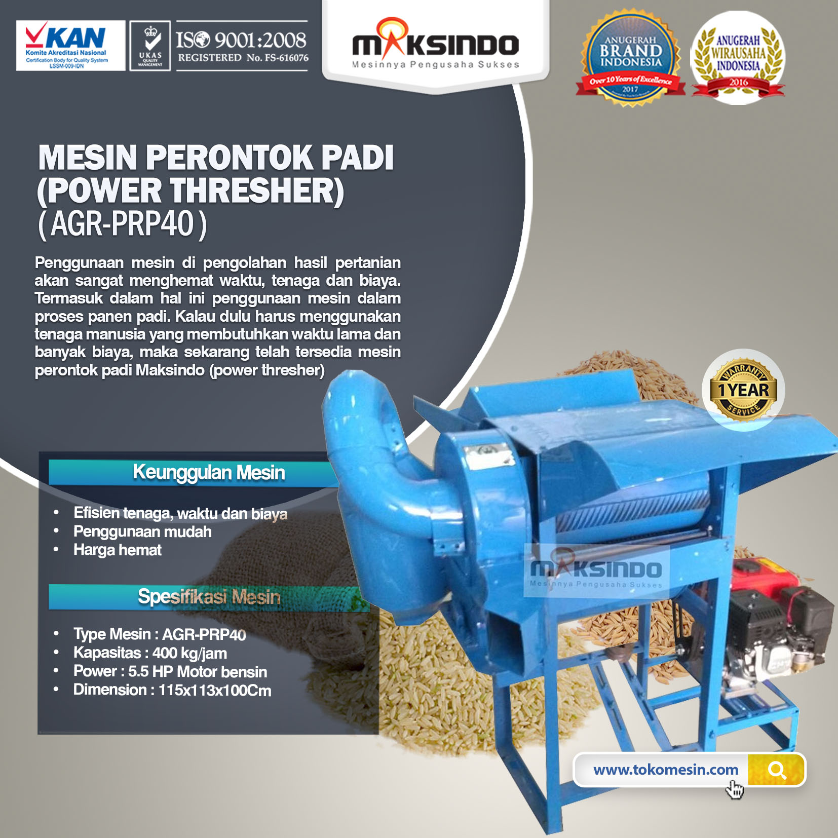 Mesin Perontok Padi (power thresher) (iAGR-PRP40)