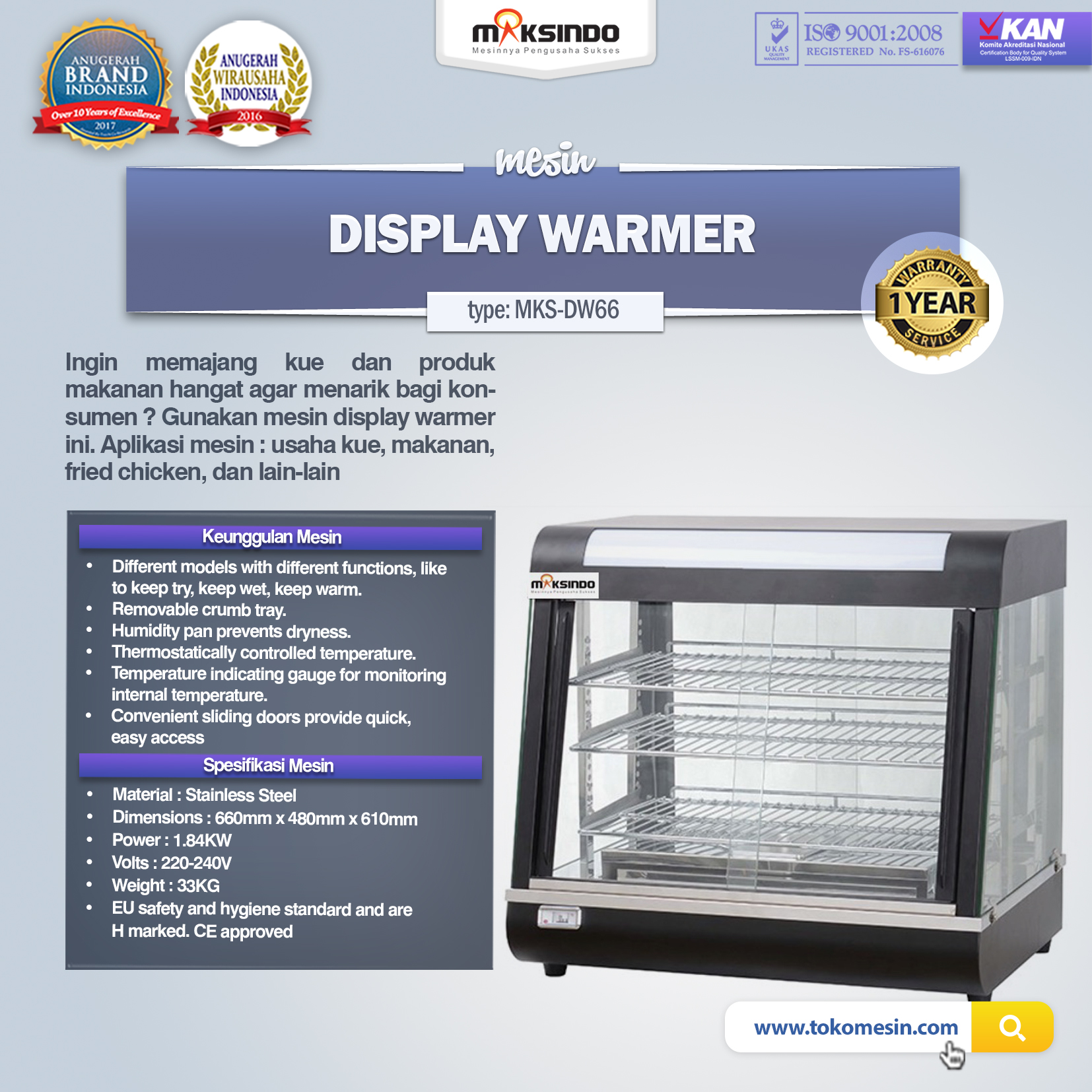 Mesin Display Warmer (MKS-DW66)