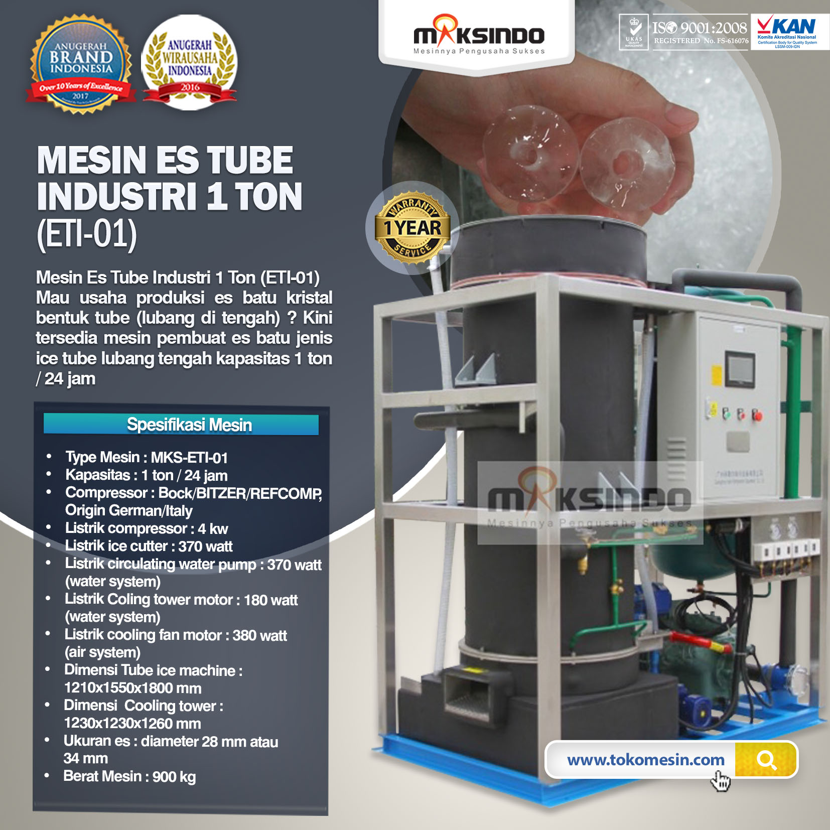 Mesin Es Tube Industri 1 Ton (ETI-01)