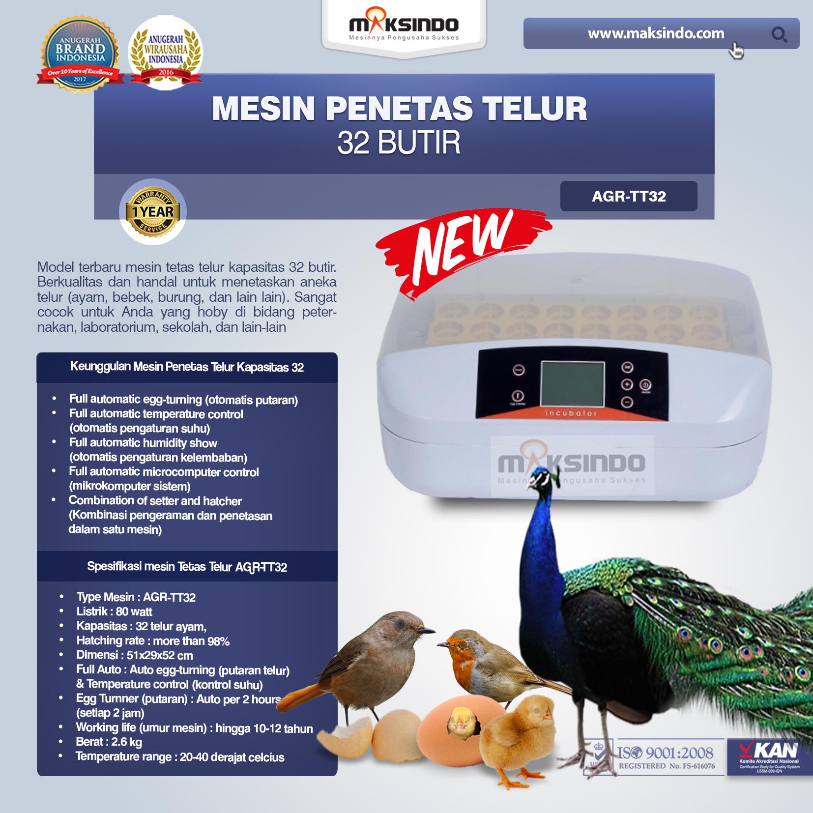 Mesin Penetas Telur 32 Butir AGR-TT32