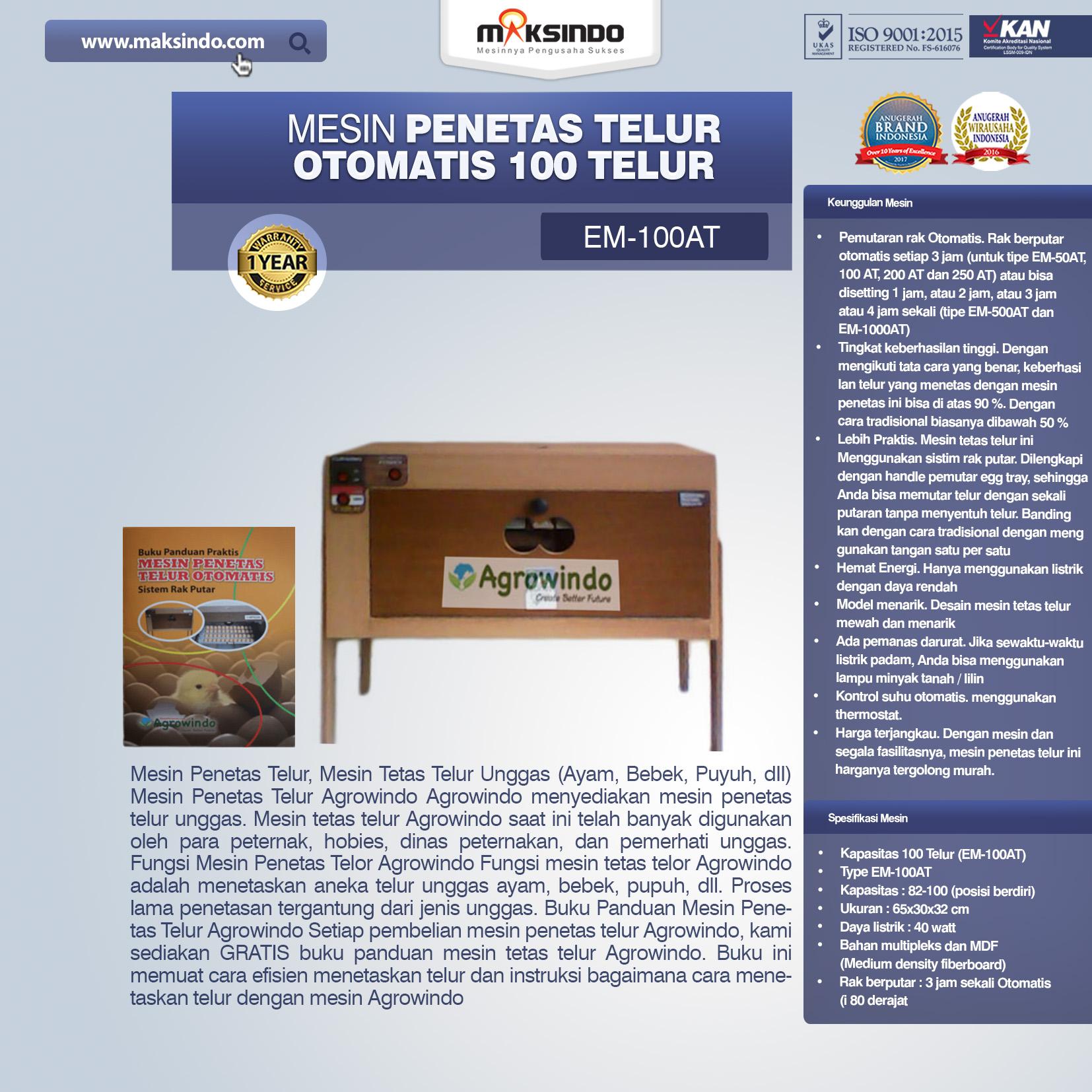 Jual Mesin Penetas Telur Otomatis 100 Telur (EM-100AT) di Tangerang