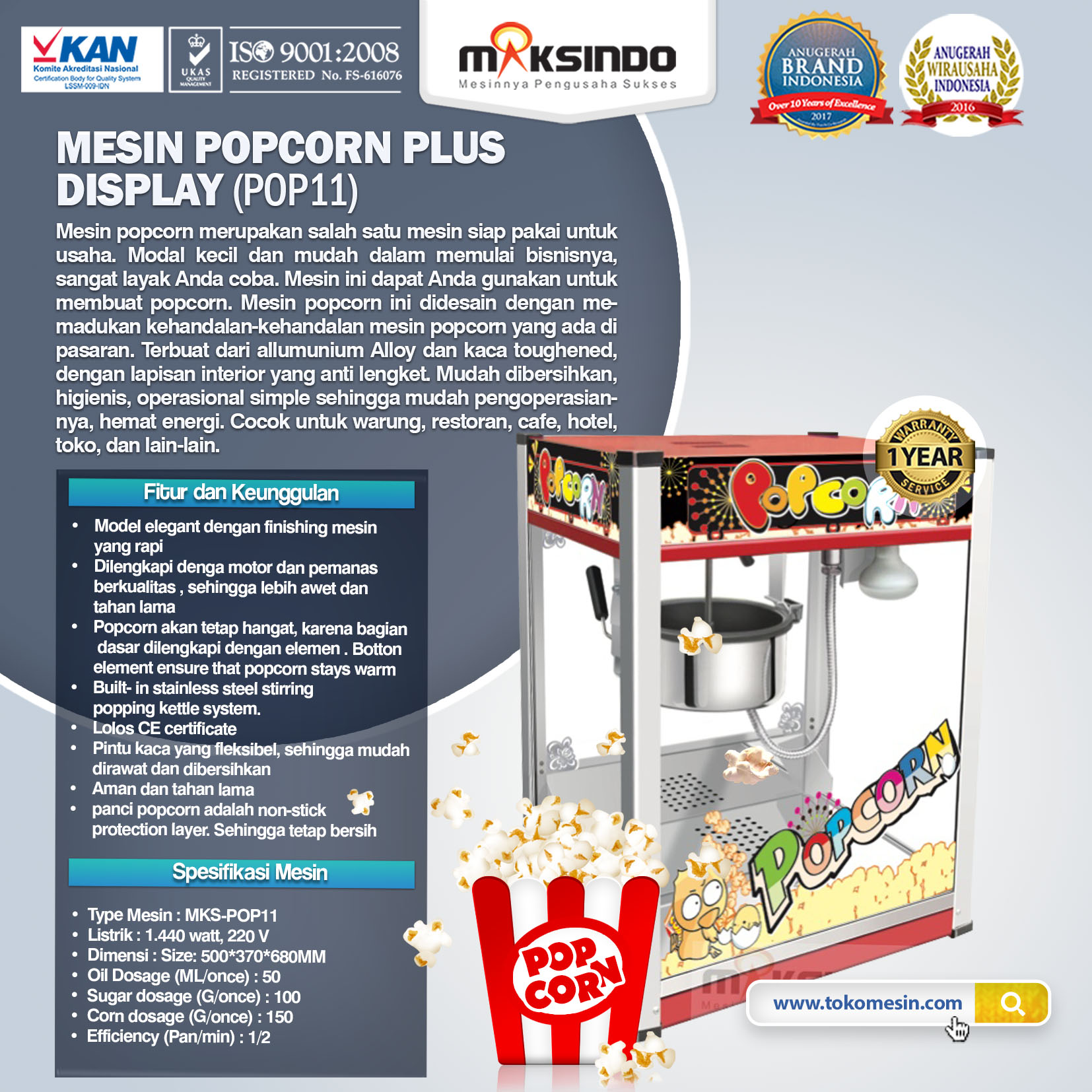 Mesin Popcorn Plus Display (POP11)