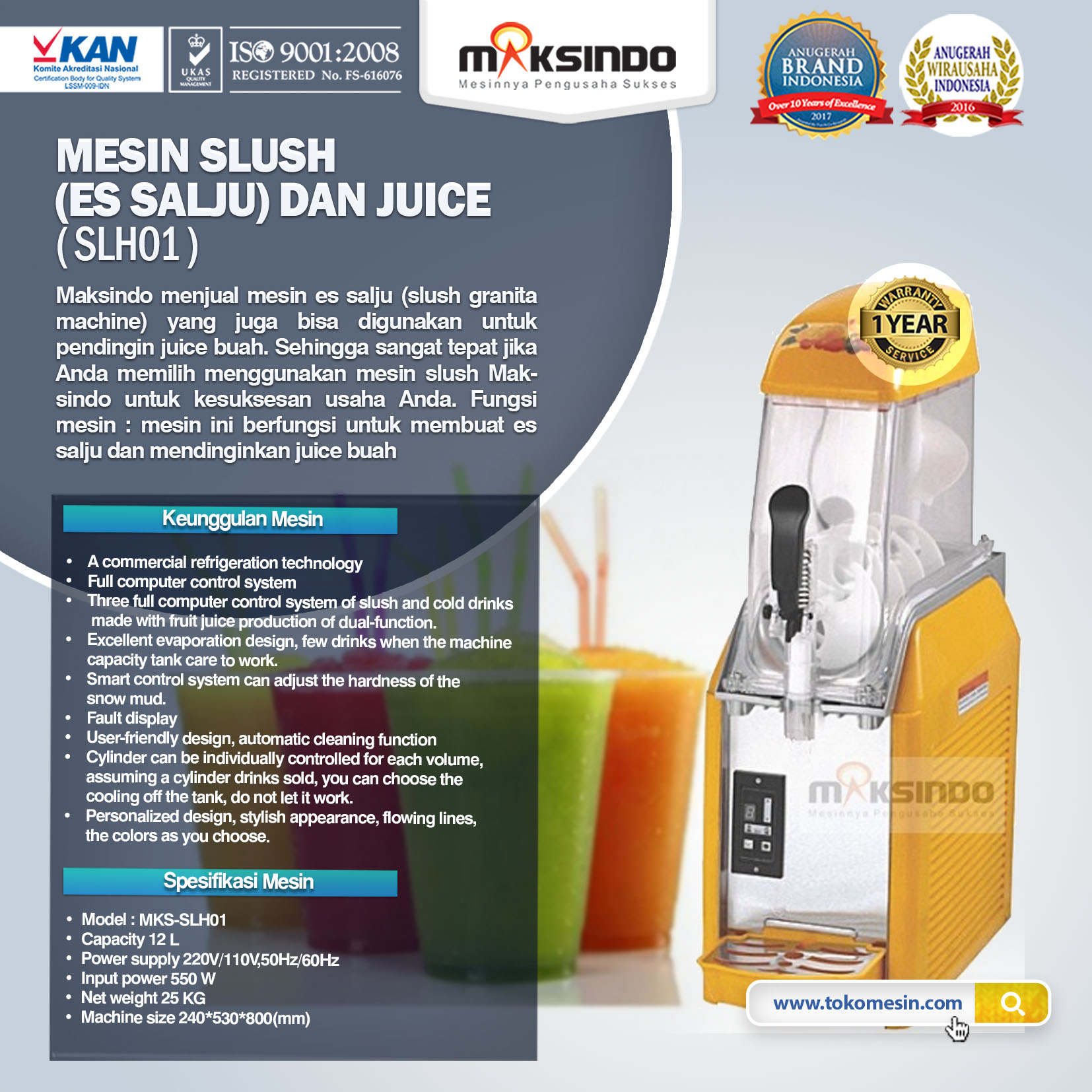 Mesin Slush (Es Salju) dan Juice – SLH01