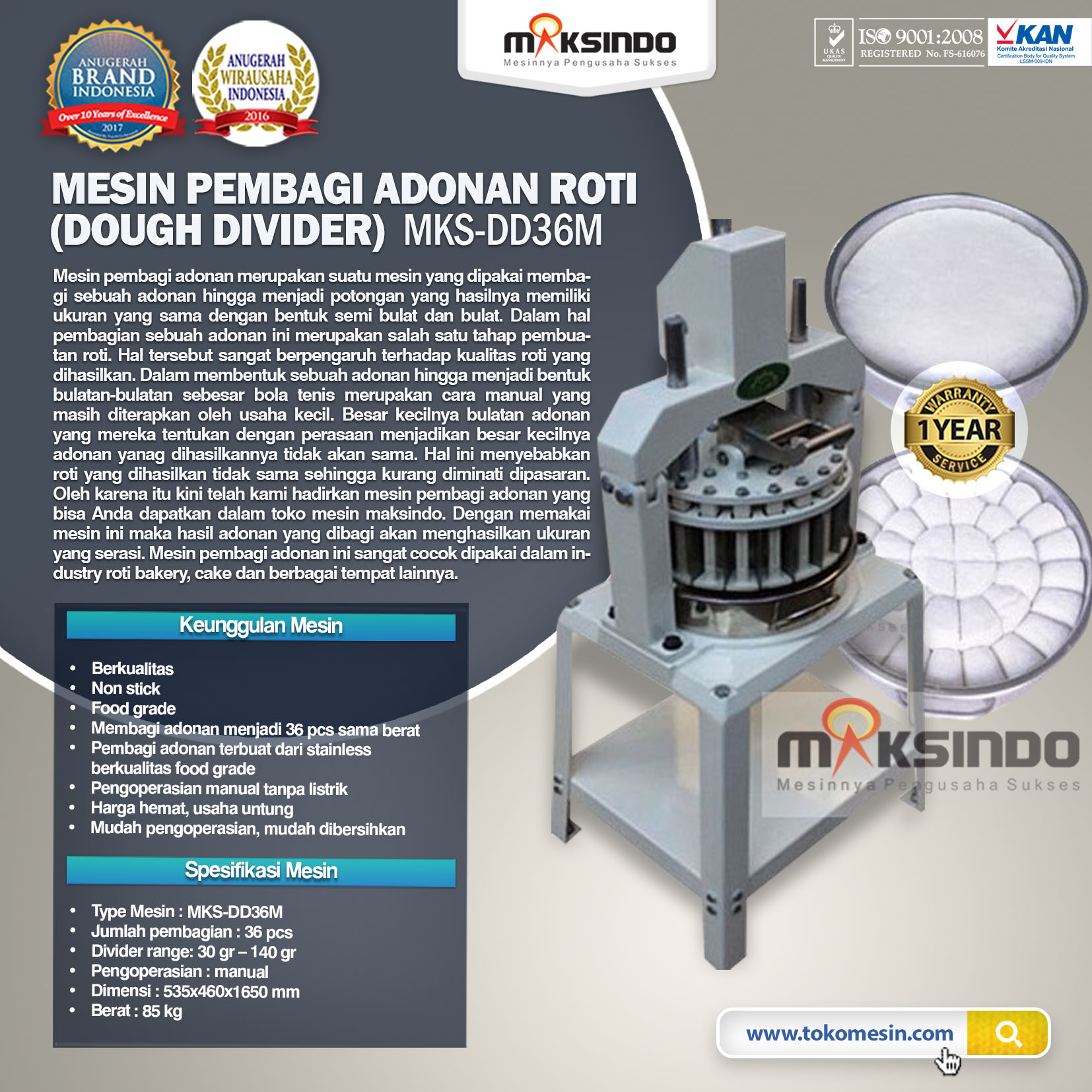 Mesin Pembagi Adonan Roti (Dough Devider) MKS-DD36M