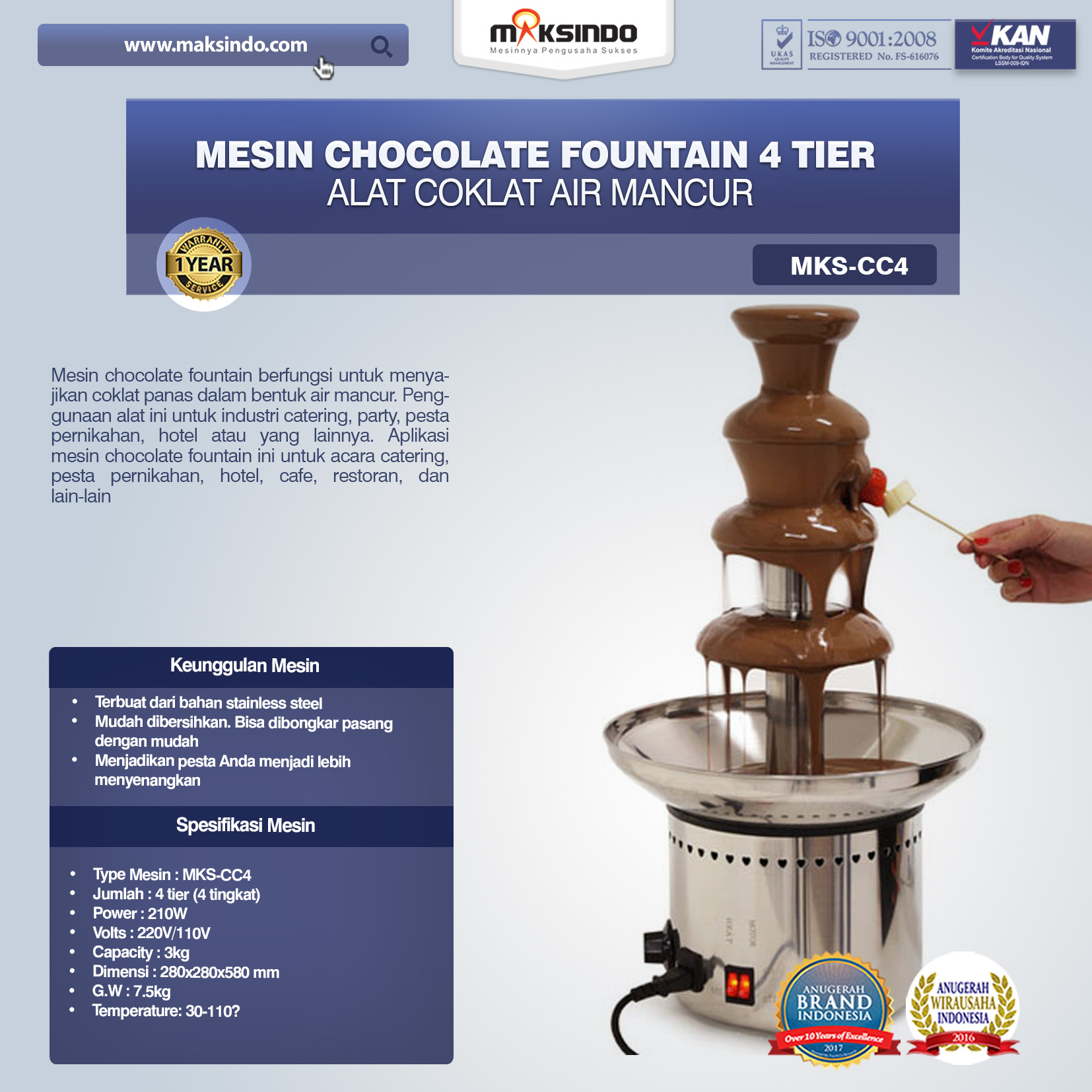 Mesin Chocolate Fountain 4 Tier MKS-CC4 Alat Coklat Air Mancur