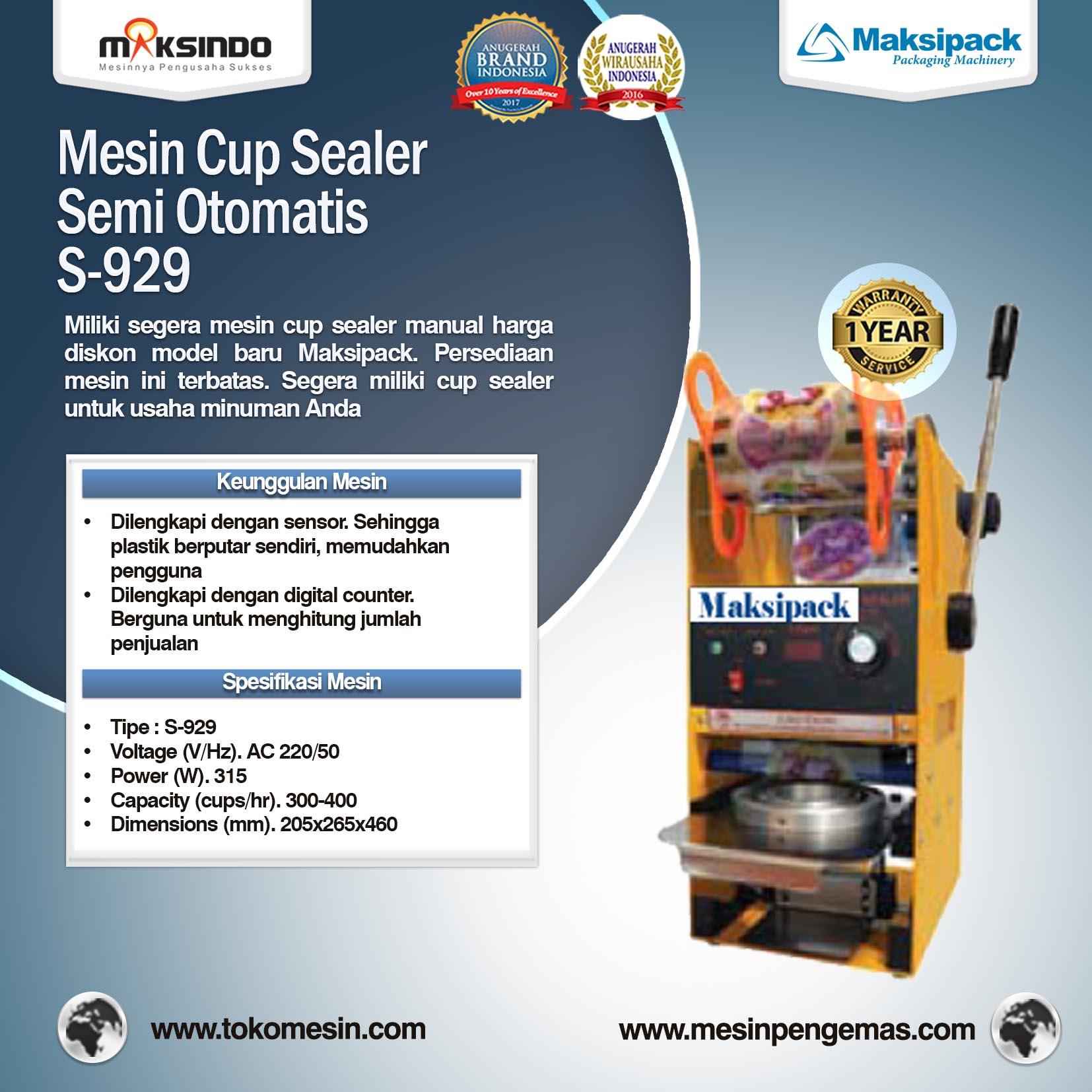 Mesin Cup Sealer Semi Otomatis S-929