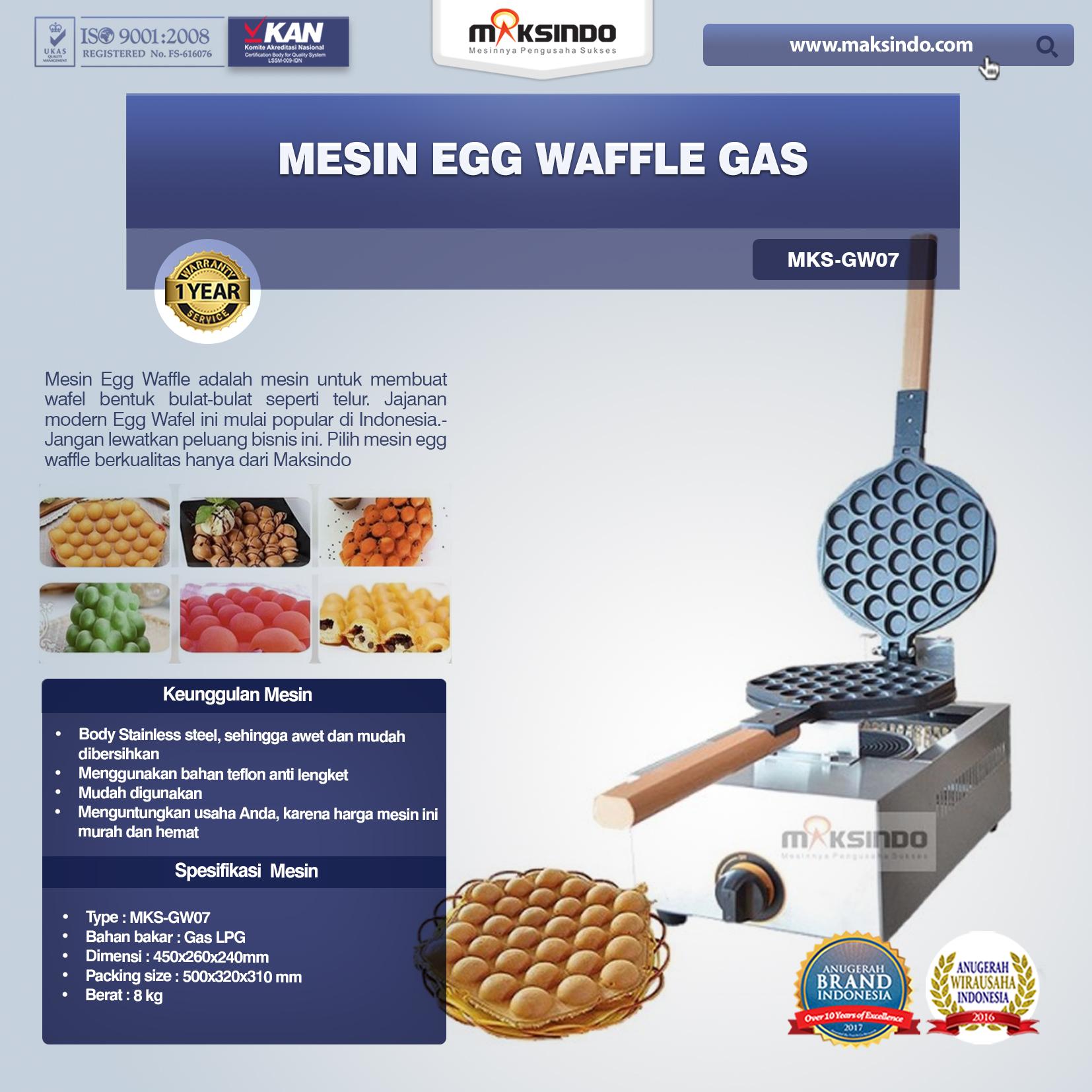 Mesin Egg Waffle Gas GW07