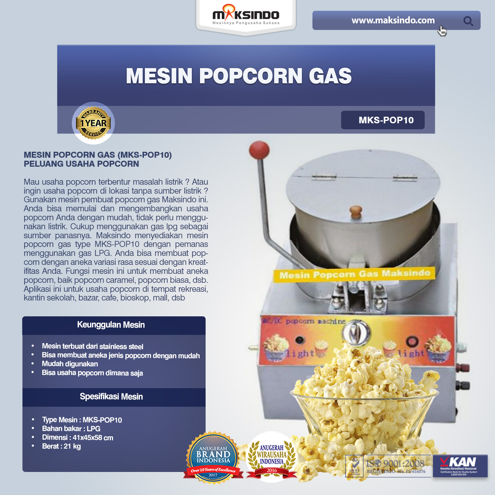 Mesin Popcorn Gas MKS-POP10
