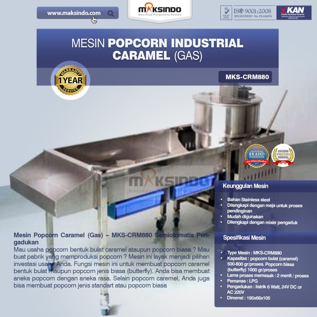 Mesin Popcorn Caramel (Gas) MKS-CRM880