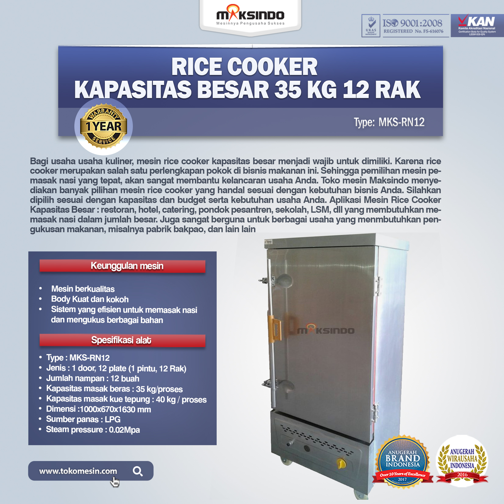 Rice Cooker Kapasitas Besar 35 Kg 12 Rak MKS-RN12