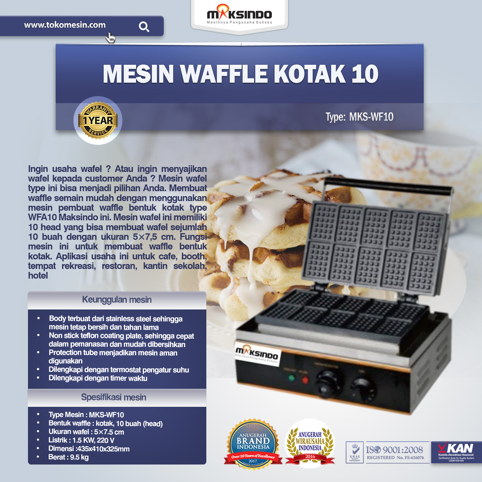 Mesin Waffle Kotak 10 (MKS-WF10)