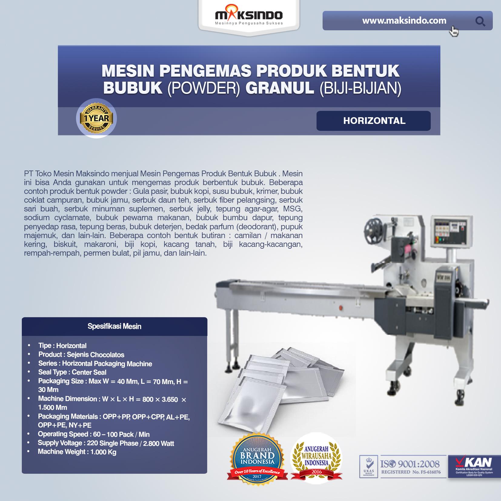 Mesin Pengemas Produk Bentuk BUBUK (POWDER) GRANUL (BIJI-BIJIAN) Horizontal