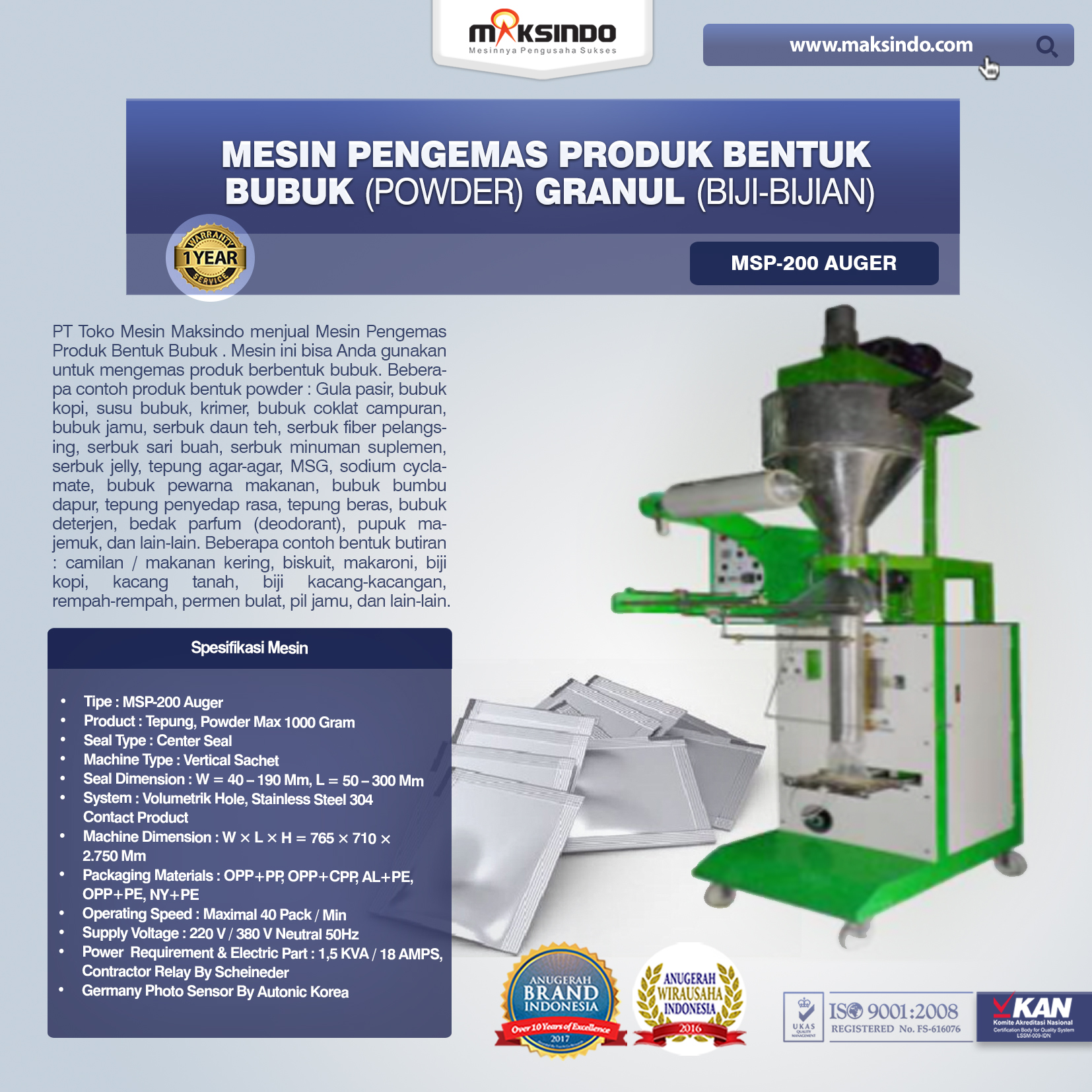 Mesin Pengemas Produk Bentuk BUBUK (POWDER) GRANUL (BIJI-BIJIAN) MSP-200 Auger