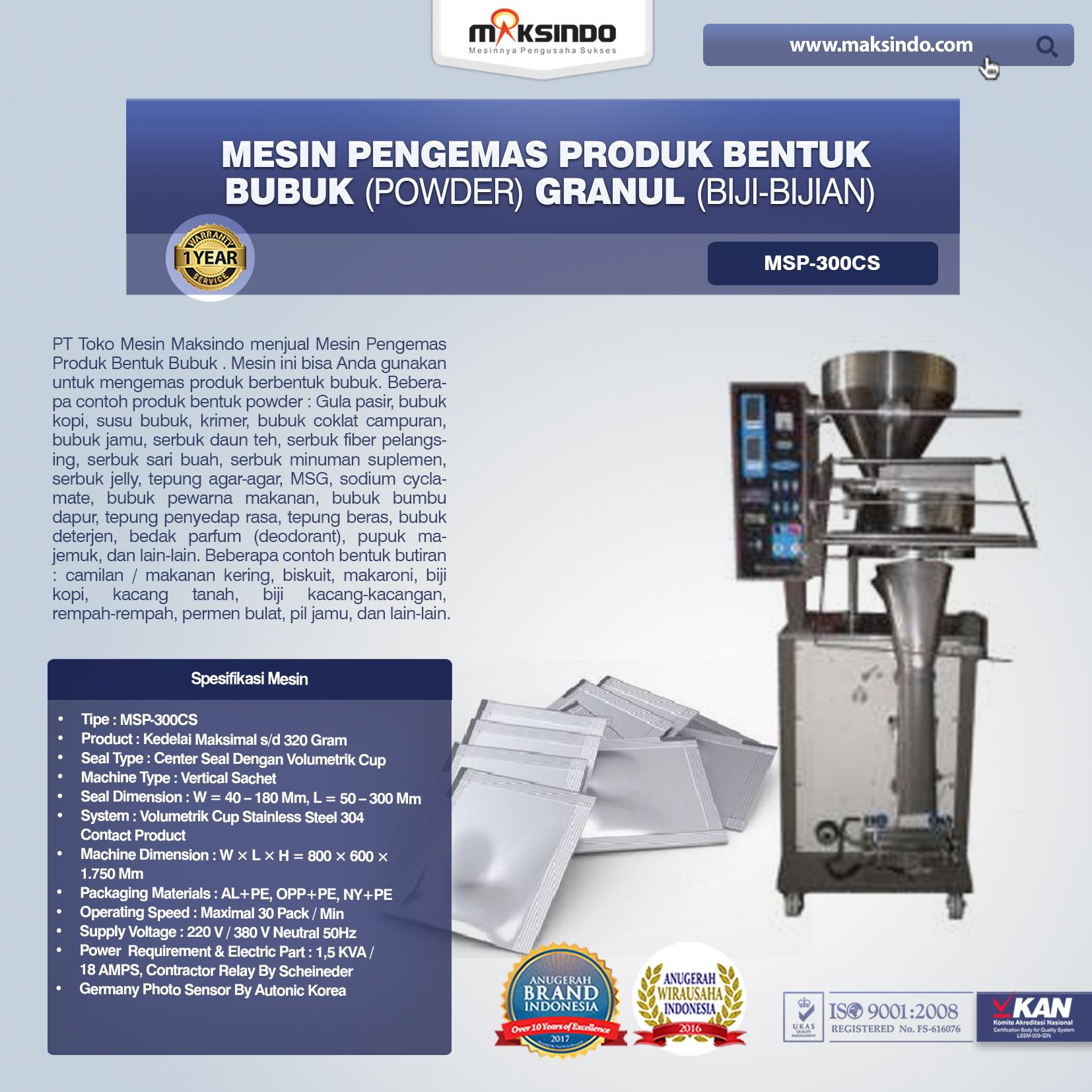 Mesin Pengemas Produk Bentuk BUBUK (POWDER) GRANUL (BIJI-BIJIAN) MSP-300CS