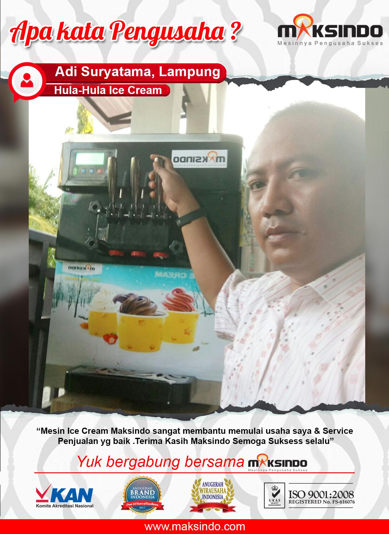 Hula-Hula Ice Cream : Mesin Ice Cream Maksindo Cocok Untuk Memulai Usaha
