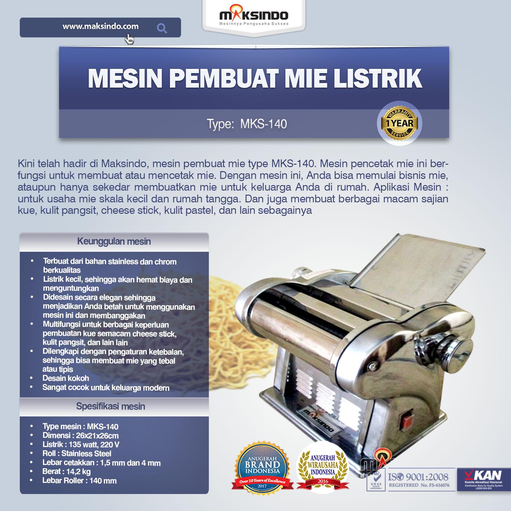 Mesin Pembuat Mie Listrik MKS-140