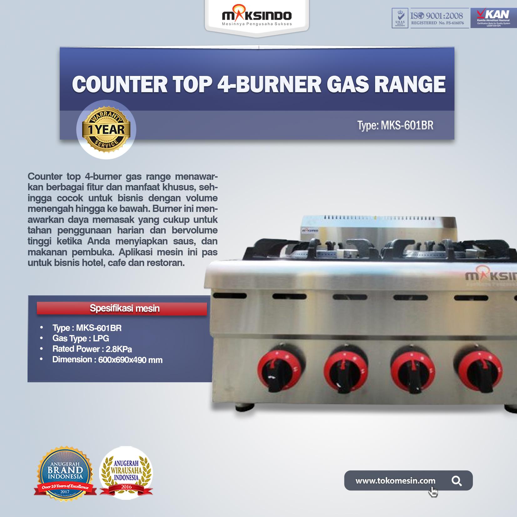 Counter Top 4-Burner Gas Range MKS-601BR